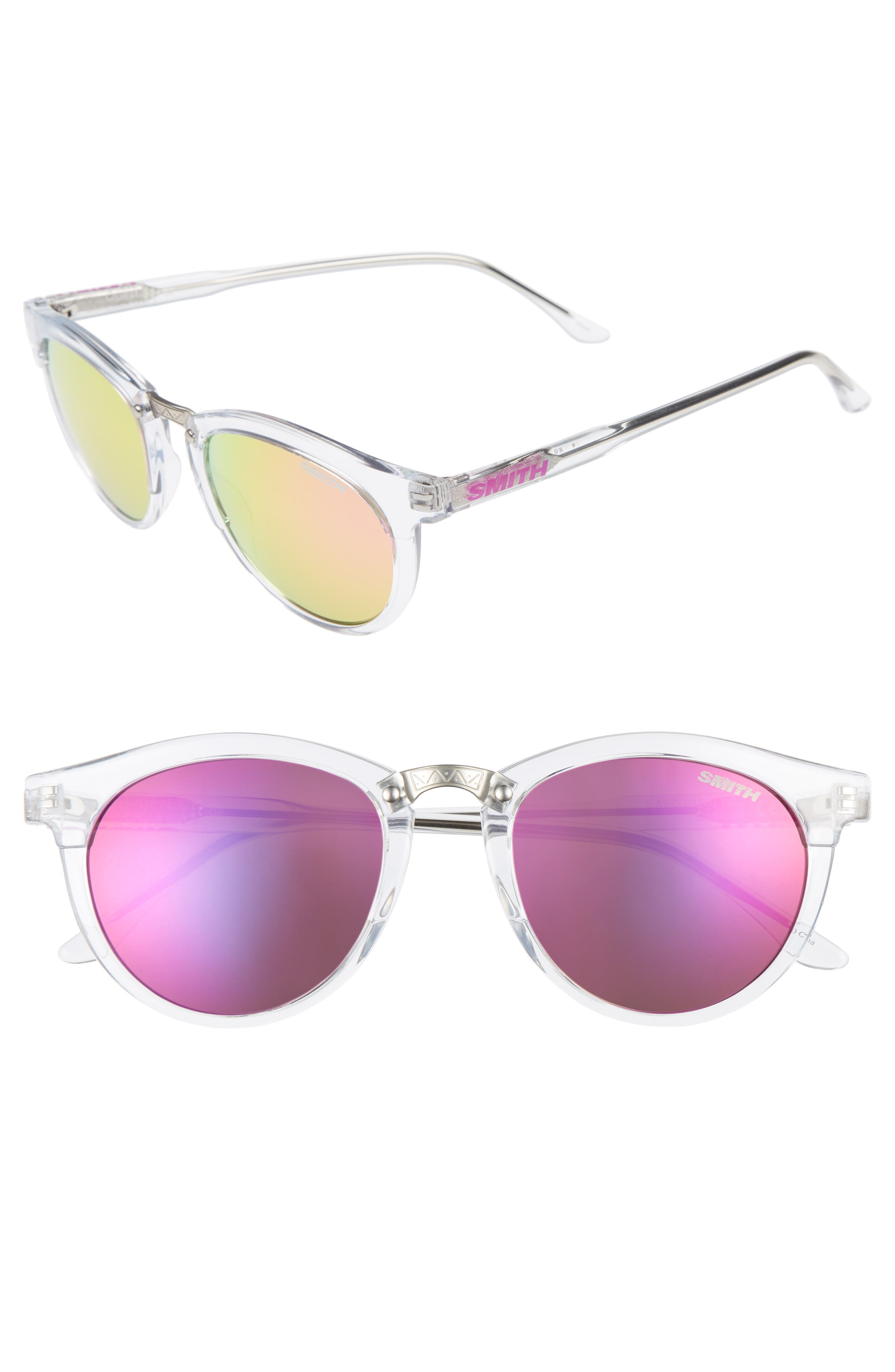 Questa 49mm Mirrored Lens Sunglasses,                         Main,                         color, Crystal/ Pink