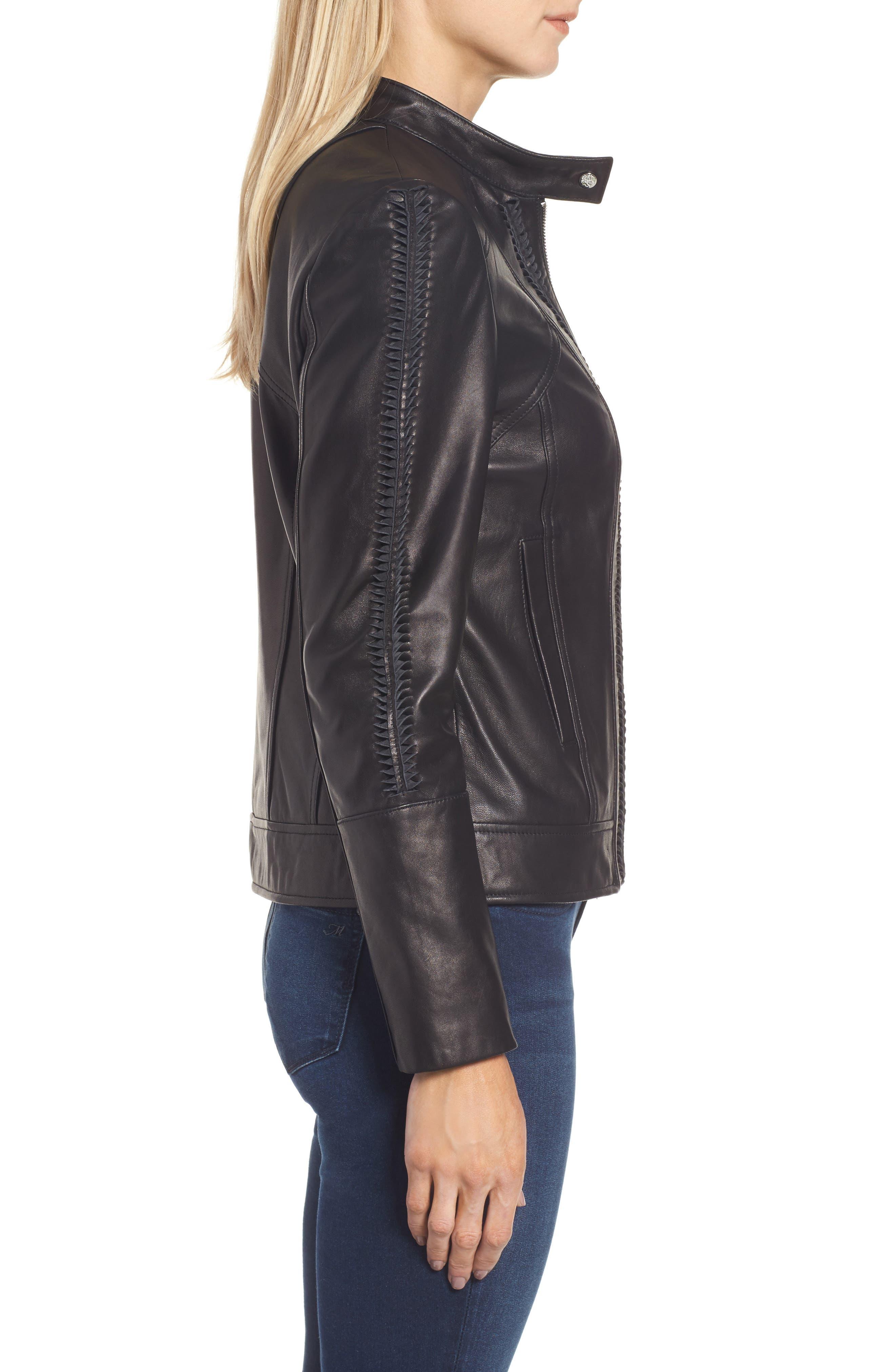 Braid Detail Leather Jacket,                             Alternate thumbnail 3, color,                             Black