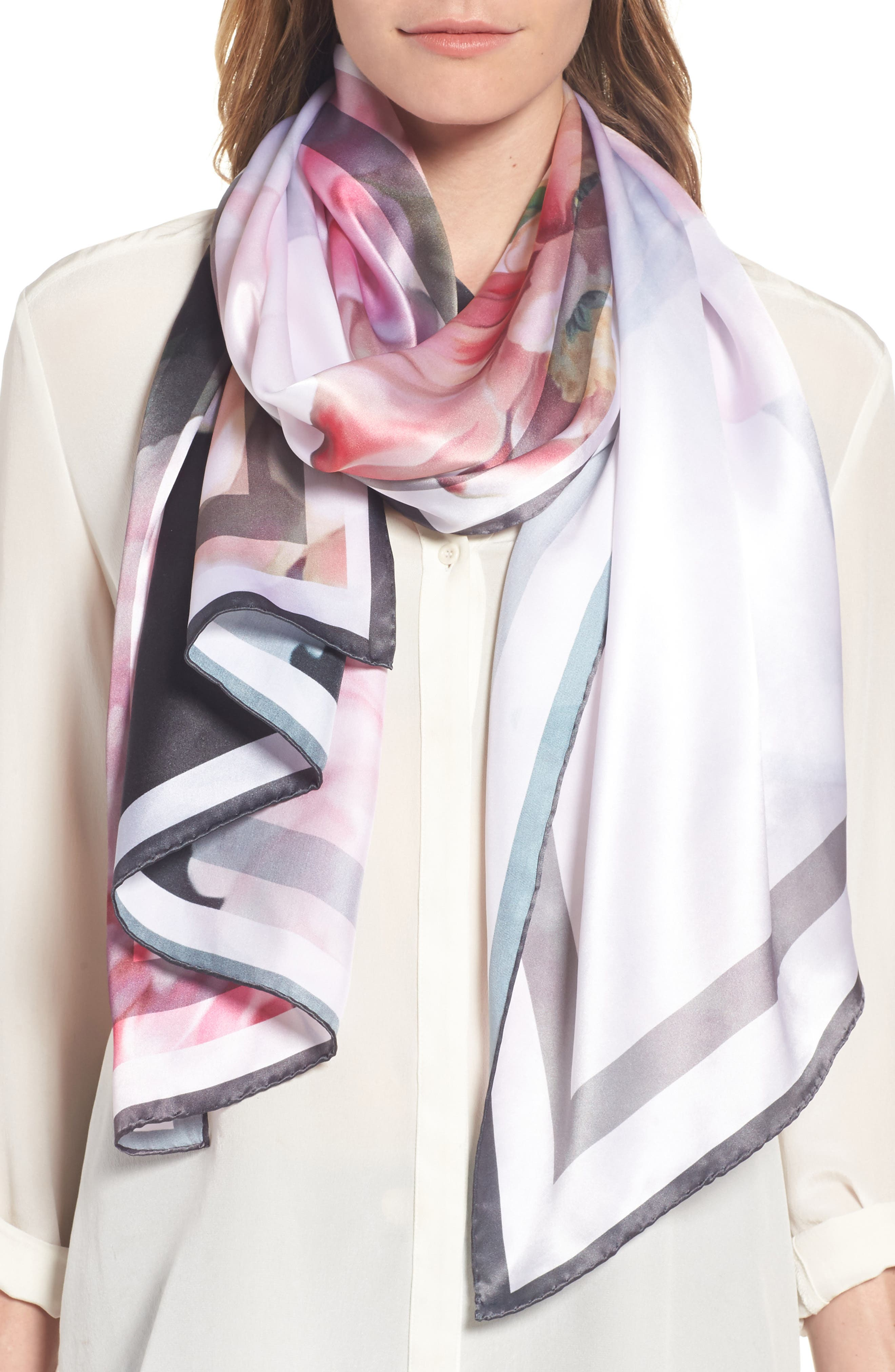 Painted Posie Long Silk Scarf,                             Main thumbnail 1, color,                             Baby Pink