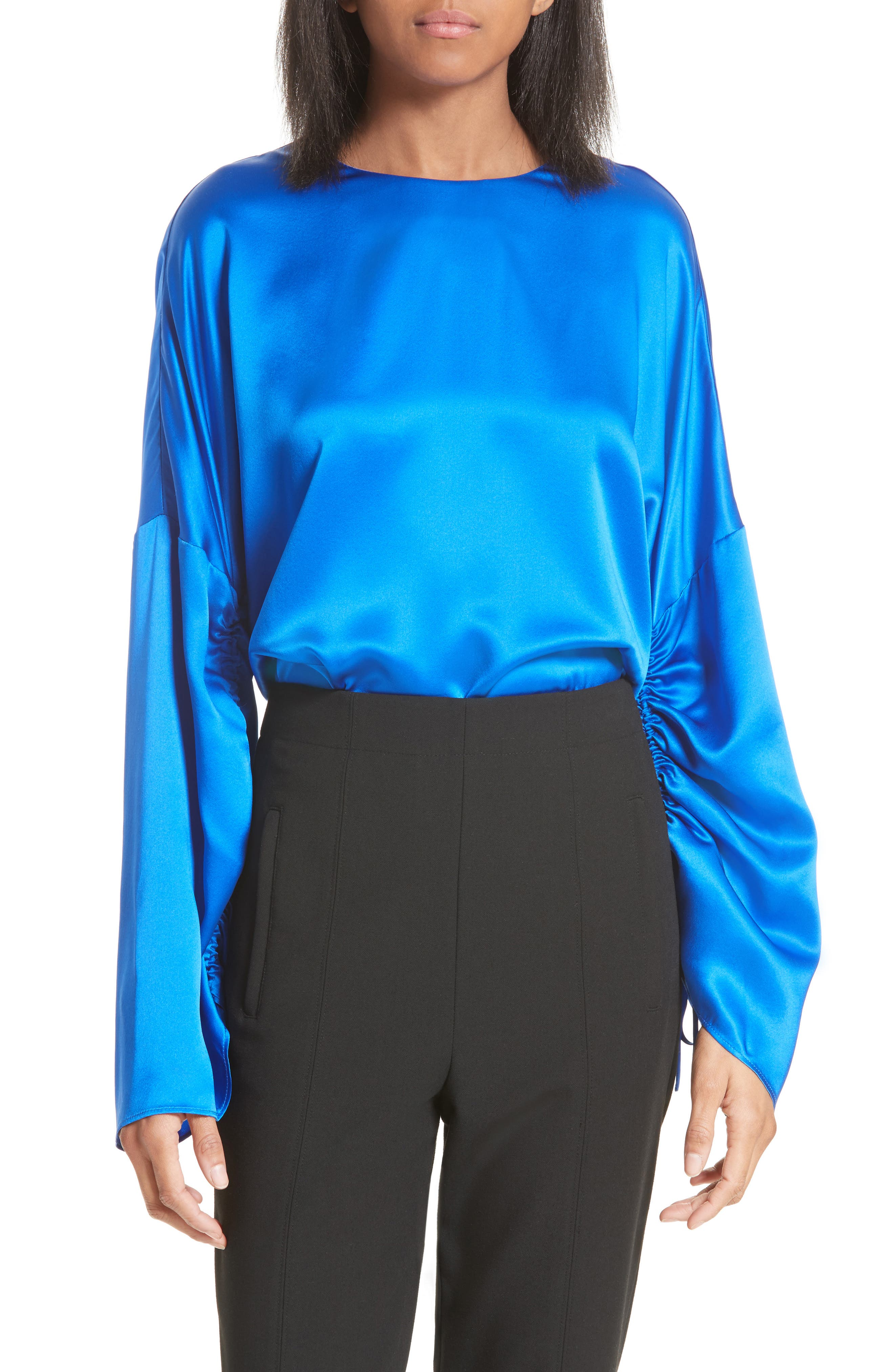 Ruched Sleeve Satin Silk Top,                         Main,                         color, Brodea Blue