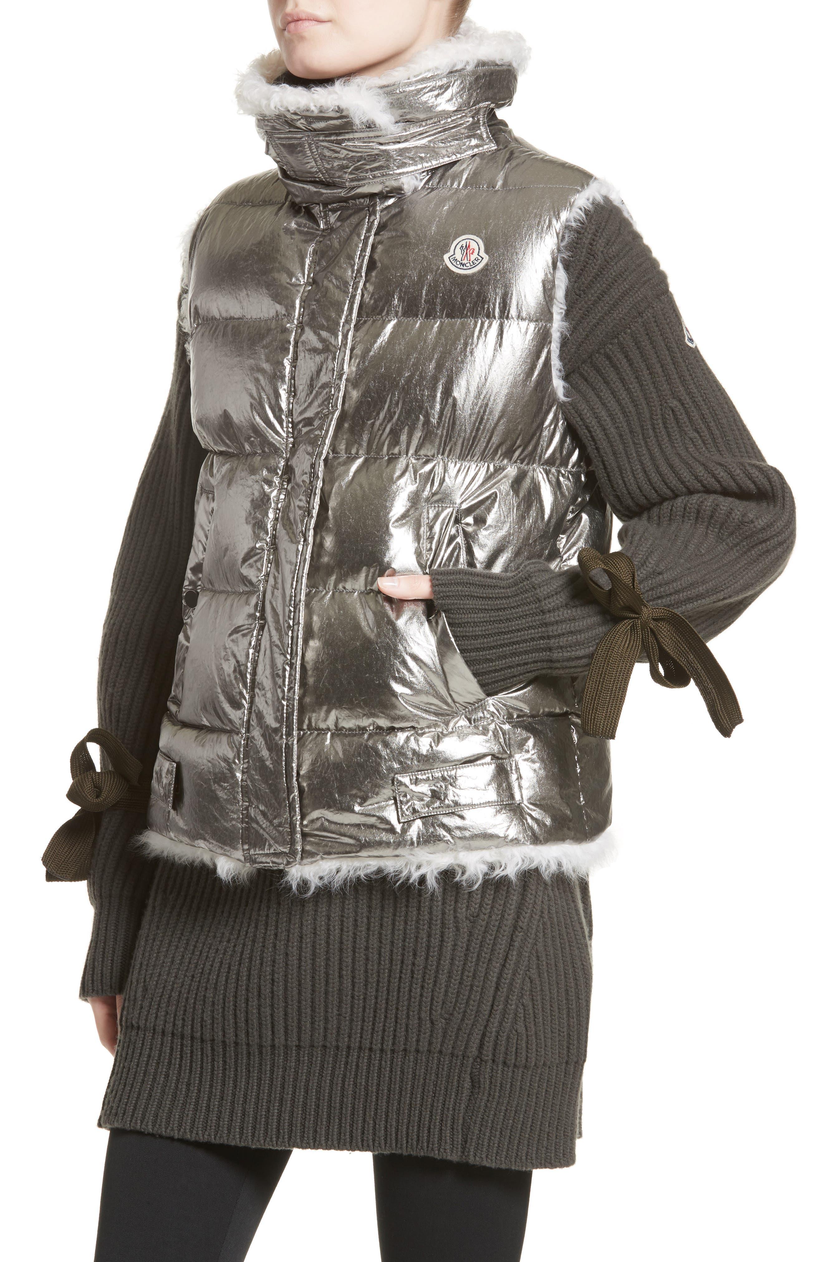Kerria Metallic Down Vest with Genuine Shearling Trim,                             Alternate thumbnail 4, color,                             Silver