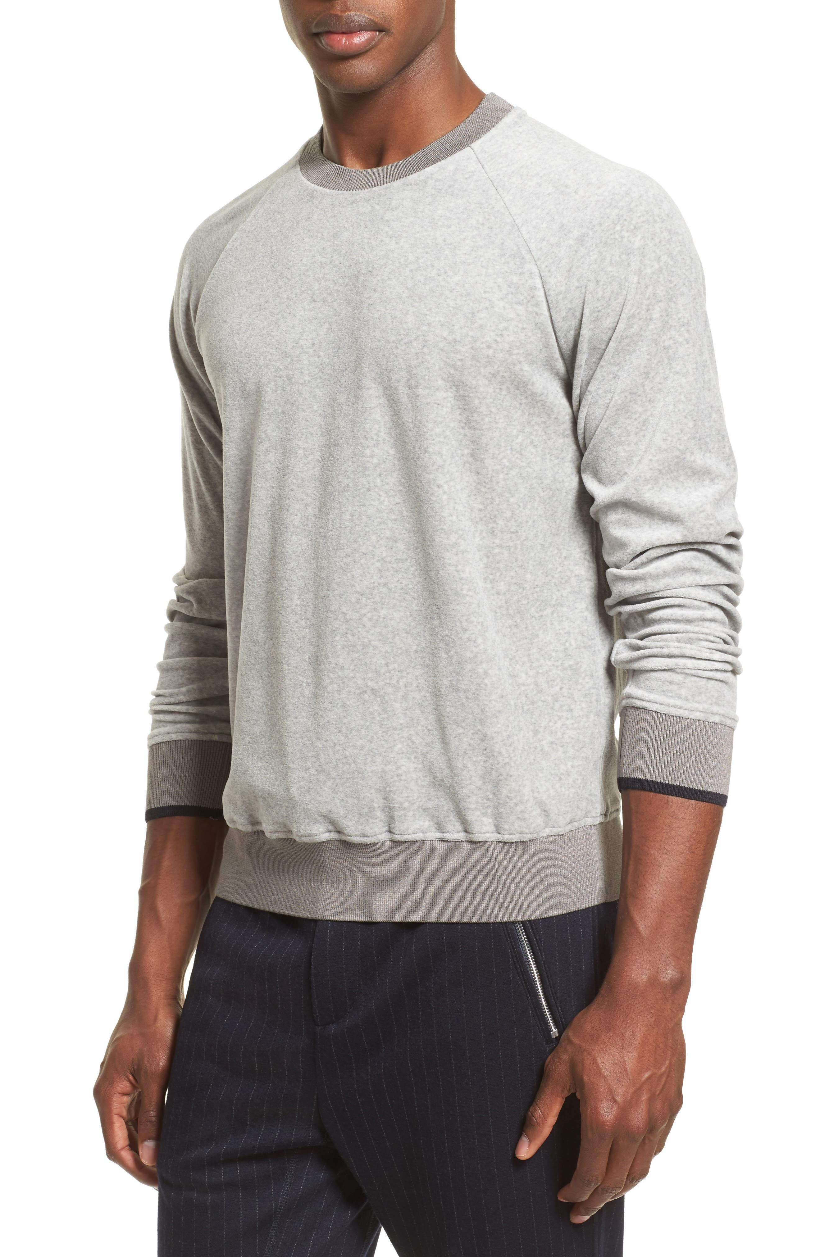 Velour Sweatshirt,                             Alternate thumbnail 4, color,                             Light Grey