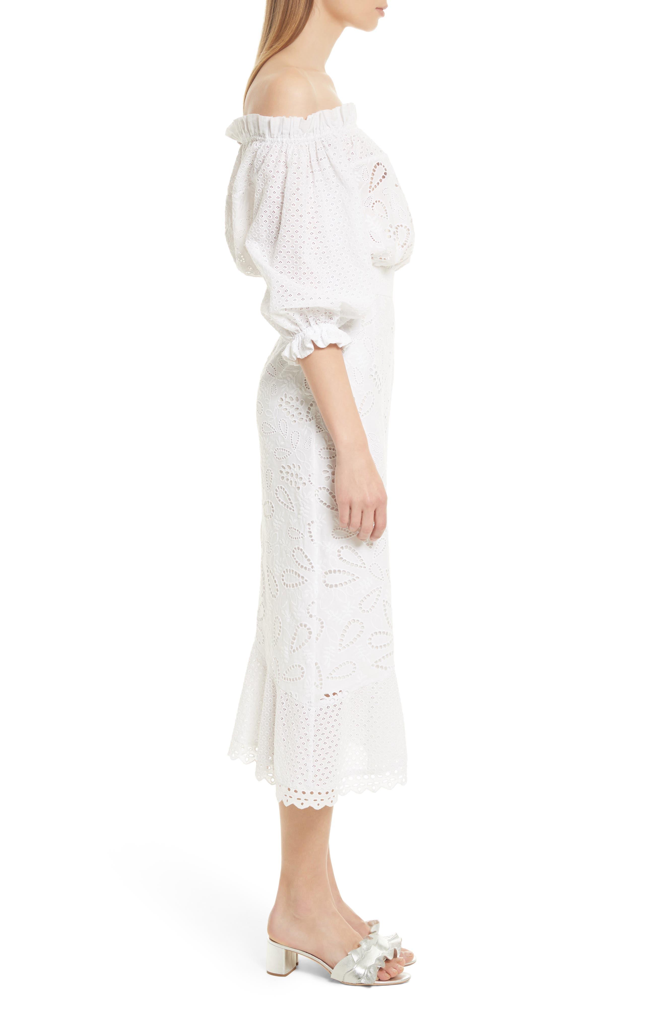 Grace Cotton Off the Shoulder Dress,                             Alternate thumbnail 3, color,                             White/ French Lace