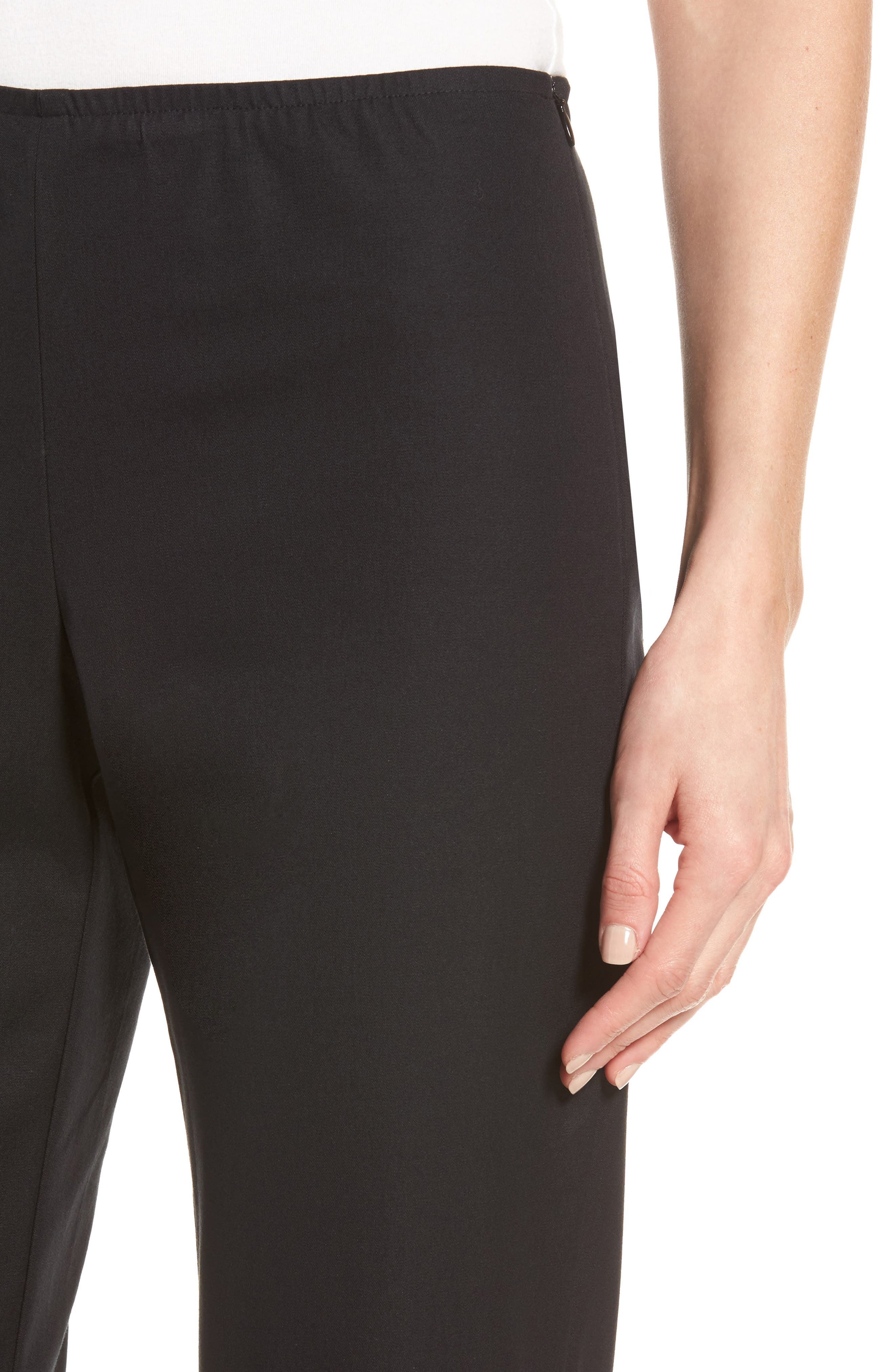 Organic Stretch Cotton Twill Ankle Pants,                             Alternate thumbnail 6, color,                             Black
