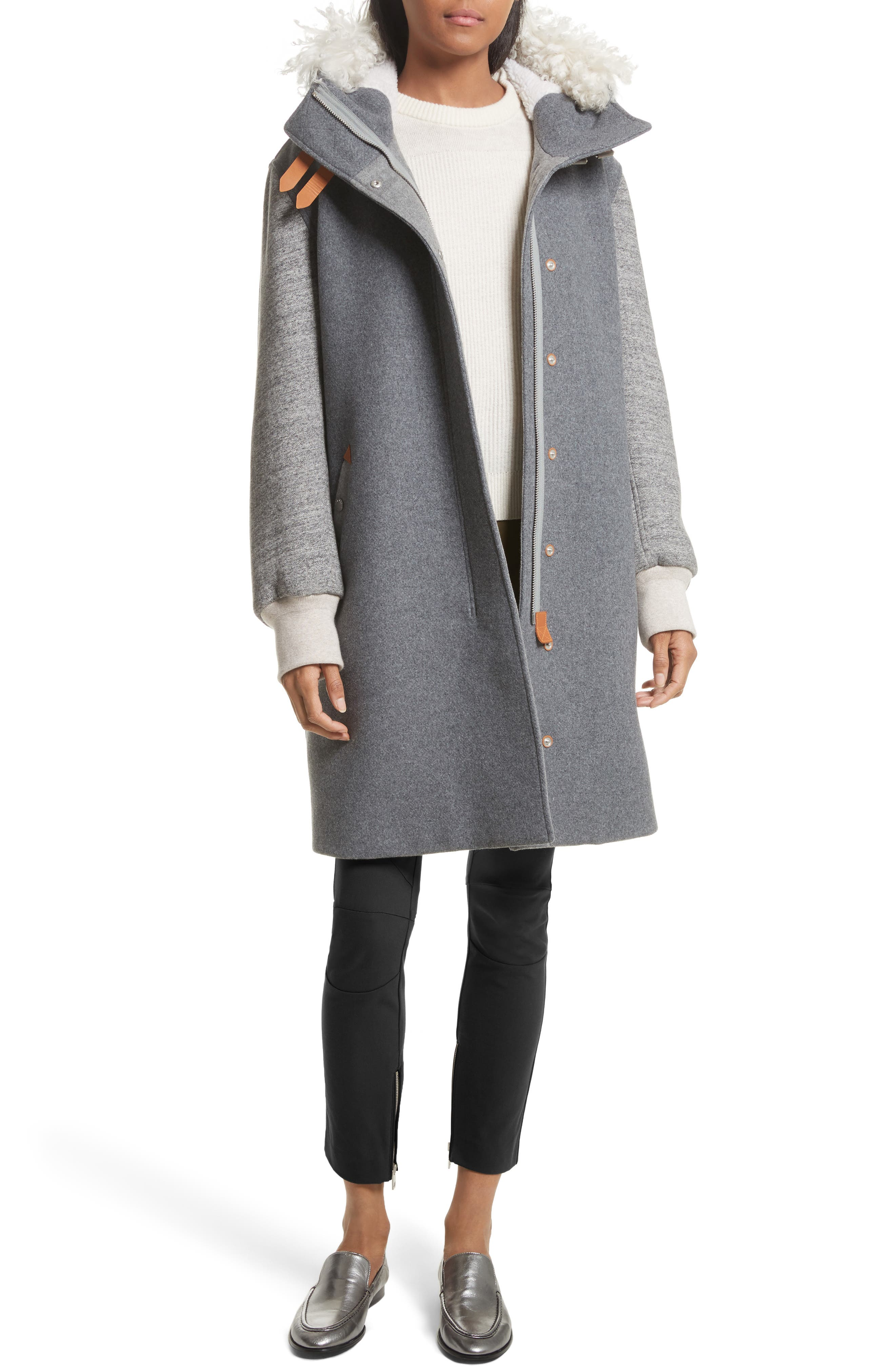 Laporta Genuine Shearling Trim Wool Blend Hooded Coat,                             Alternate thumbnail 2, color,                             Dark Grey