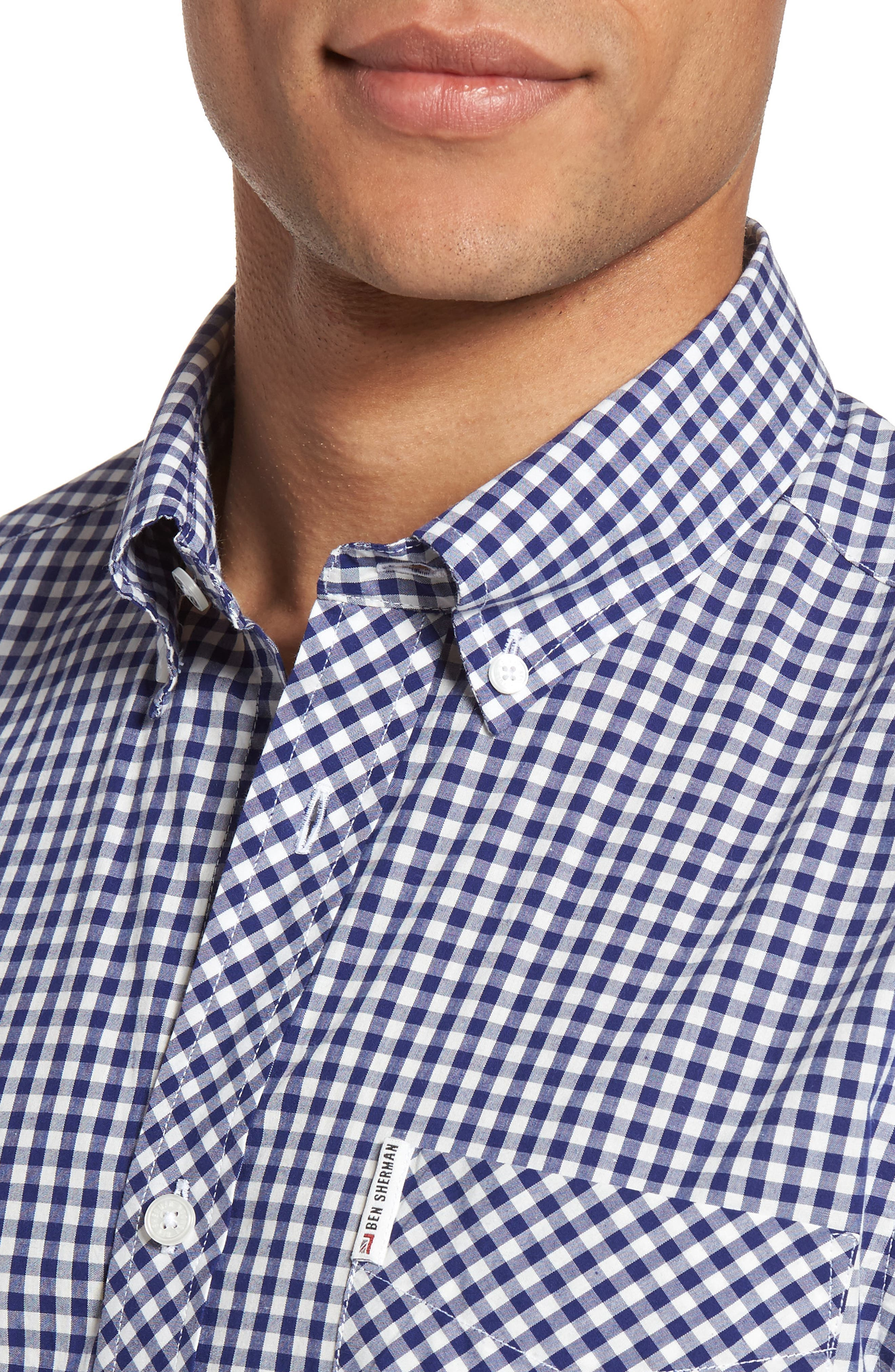 Mod Fit Gingham Sport Shirt,                             Alternate thumbnail 2, color,                             Blue Depths