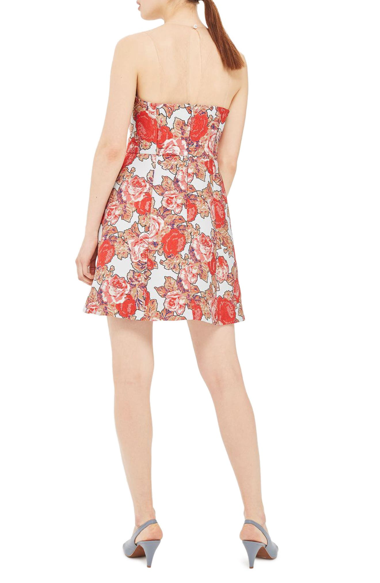 Illusion Jacquard Minidress,                             Alternate thumbnail 4, color,                             Red Multi