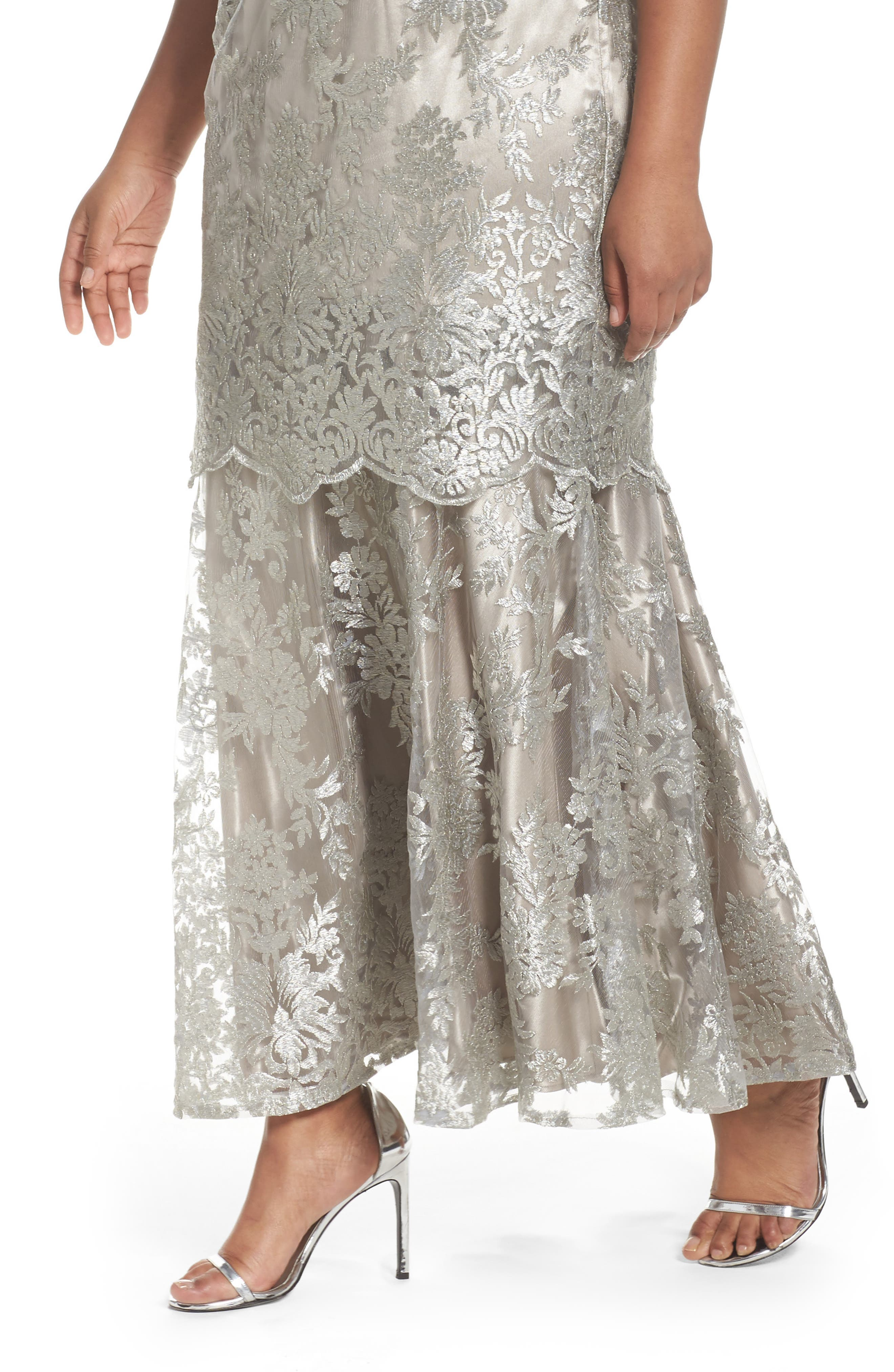 Embroidered Tiered Mermaid Gown,                             Alternate thumbnail 4, color,                             Platinum