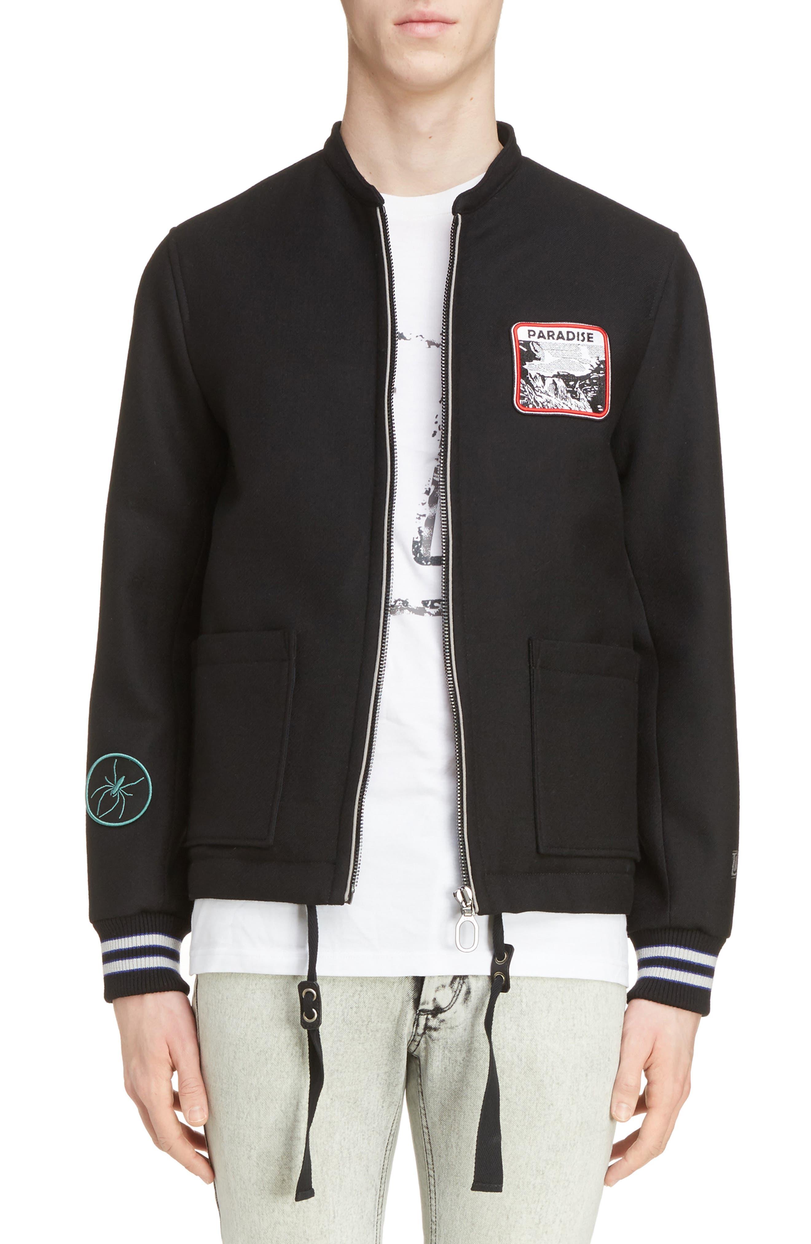 Paradise Patch Bomber Jacket,                         Main,                         color, Black