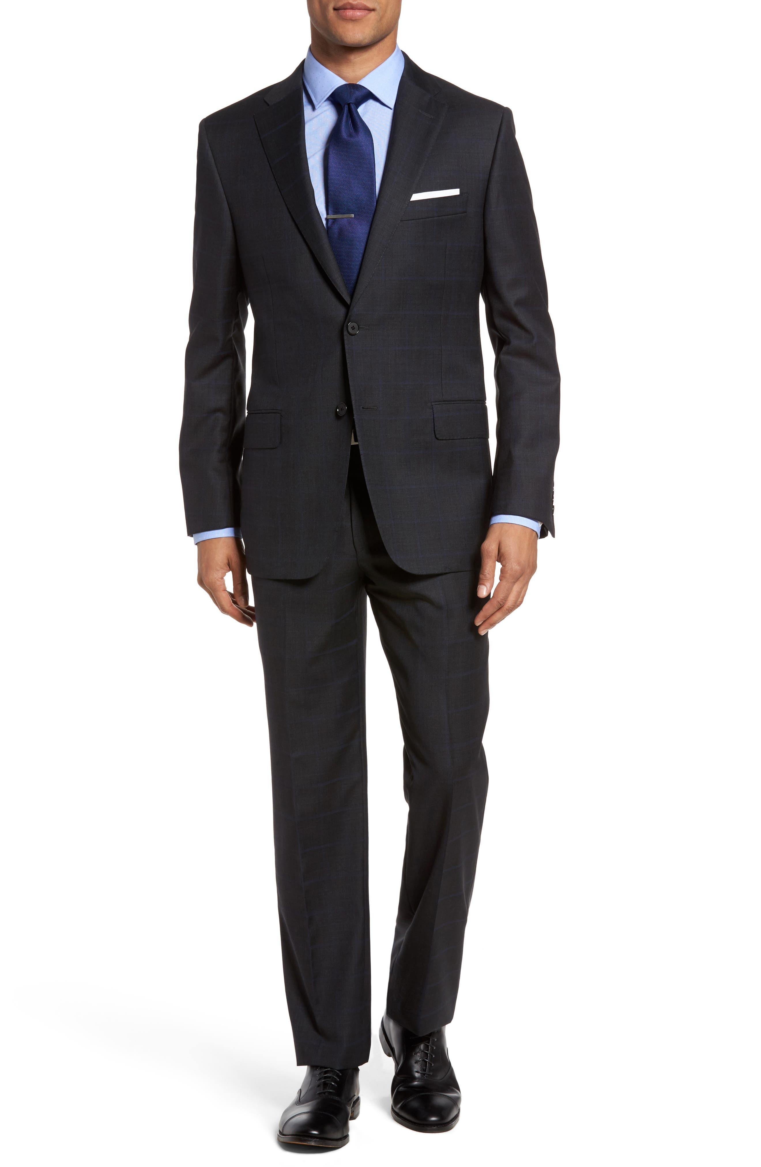 HICKEY FREEMAN B-Series Classic Fit Windowpane Wool Suit