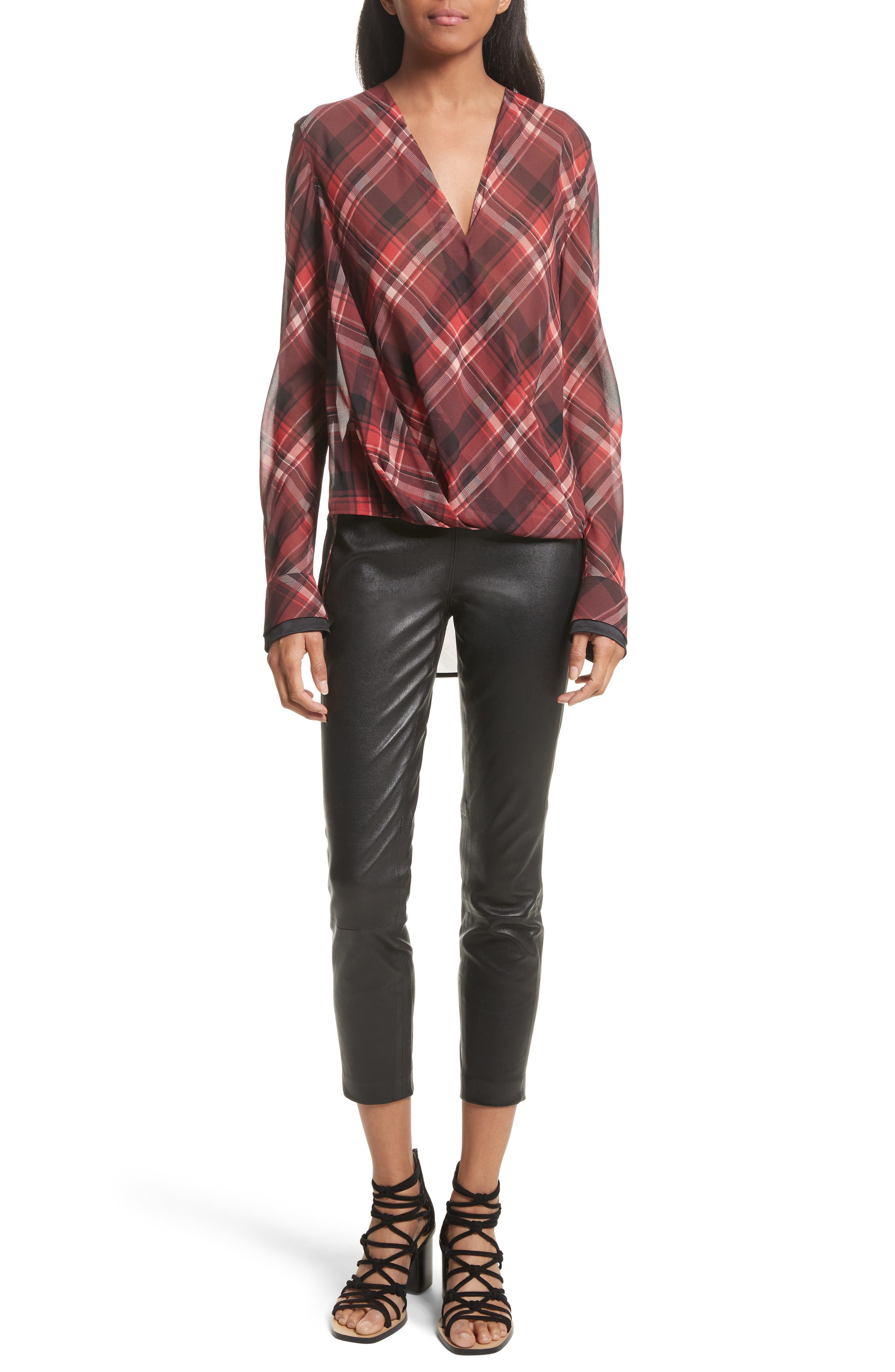 Victor Stretch Silk Blouse,                             Alternate thumbnail 2, color,                             Red Plaid