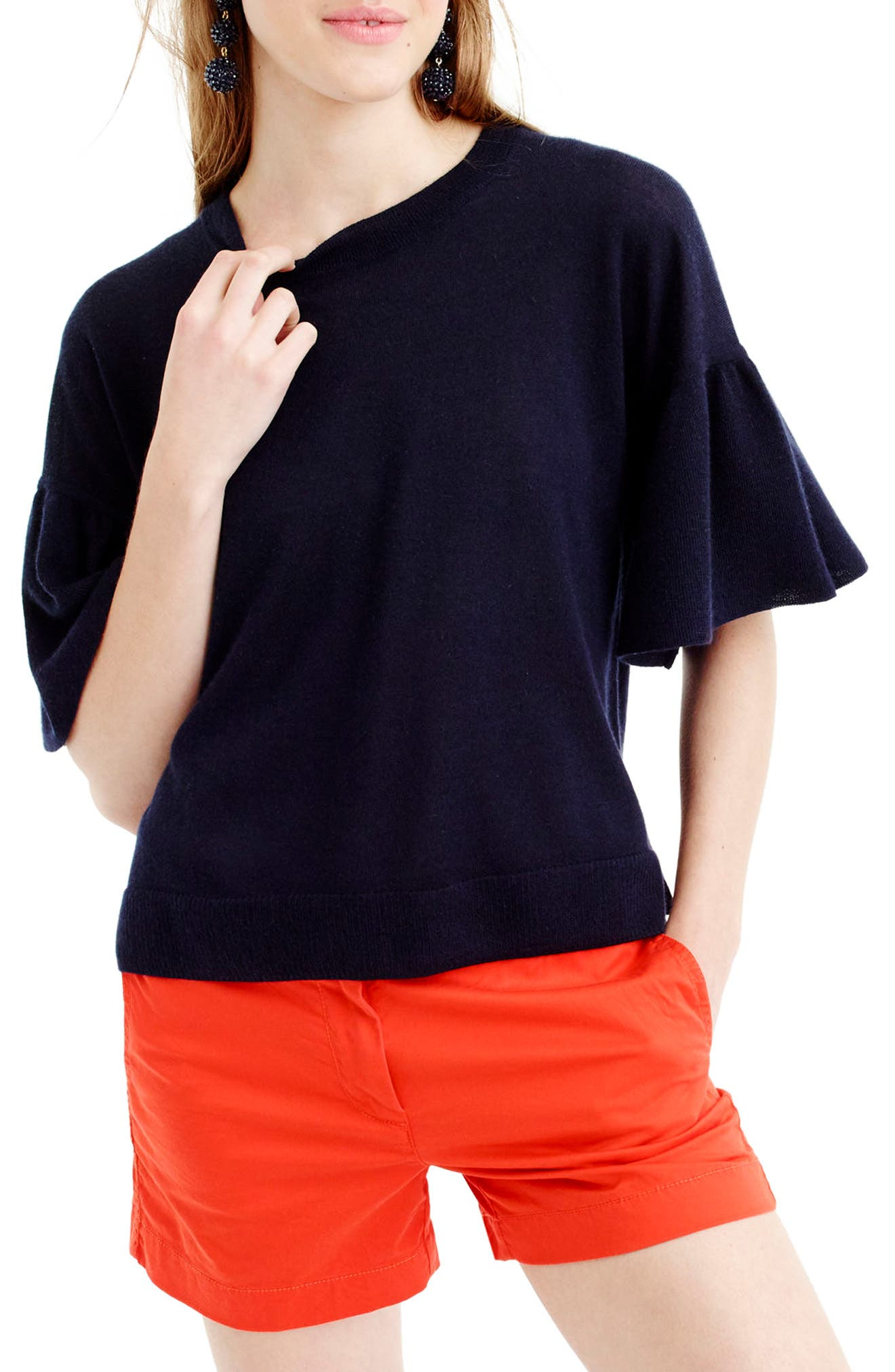 Main Image - J.Crew Featherweight Cashmere Ruffle Sleeve Sweater