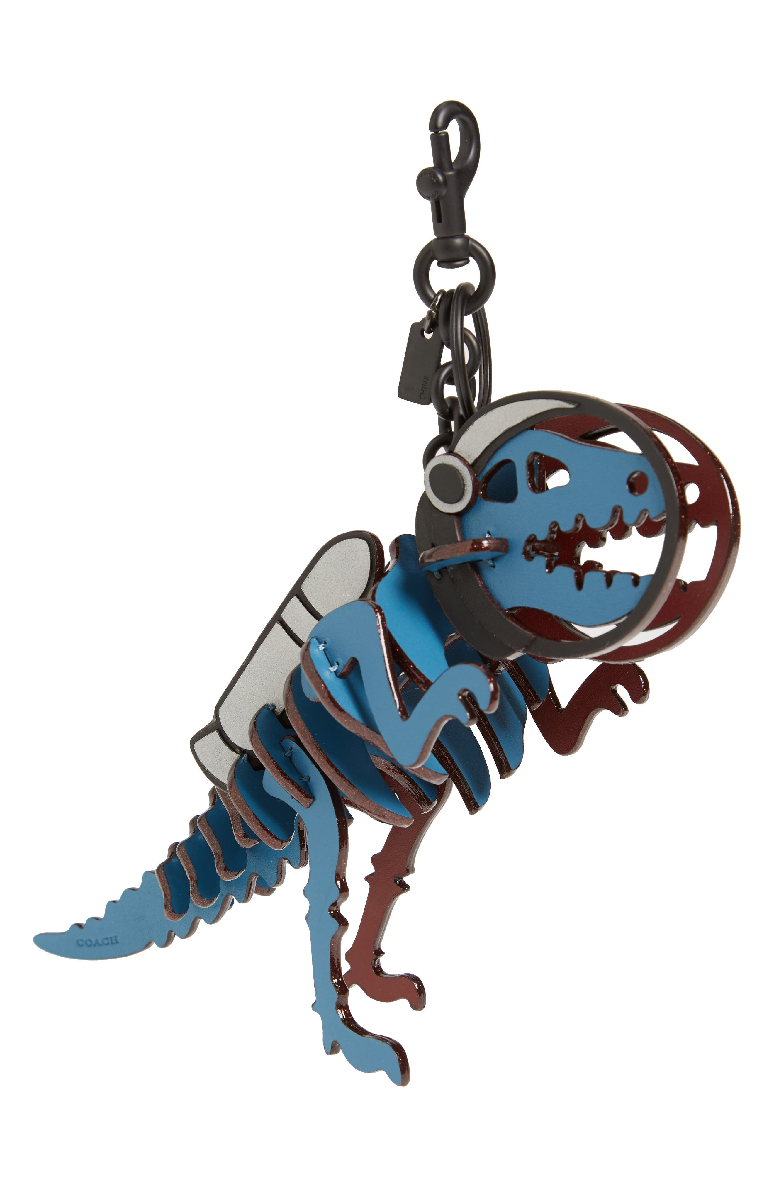 Jetpack Rexy Leather Bag Charm,                             Main thumbnail 1, color,                             River