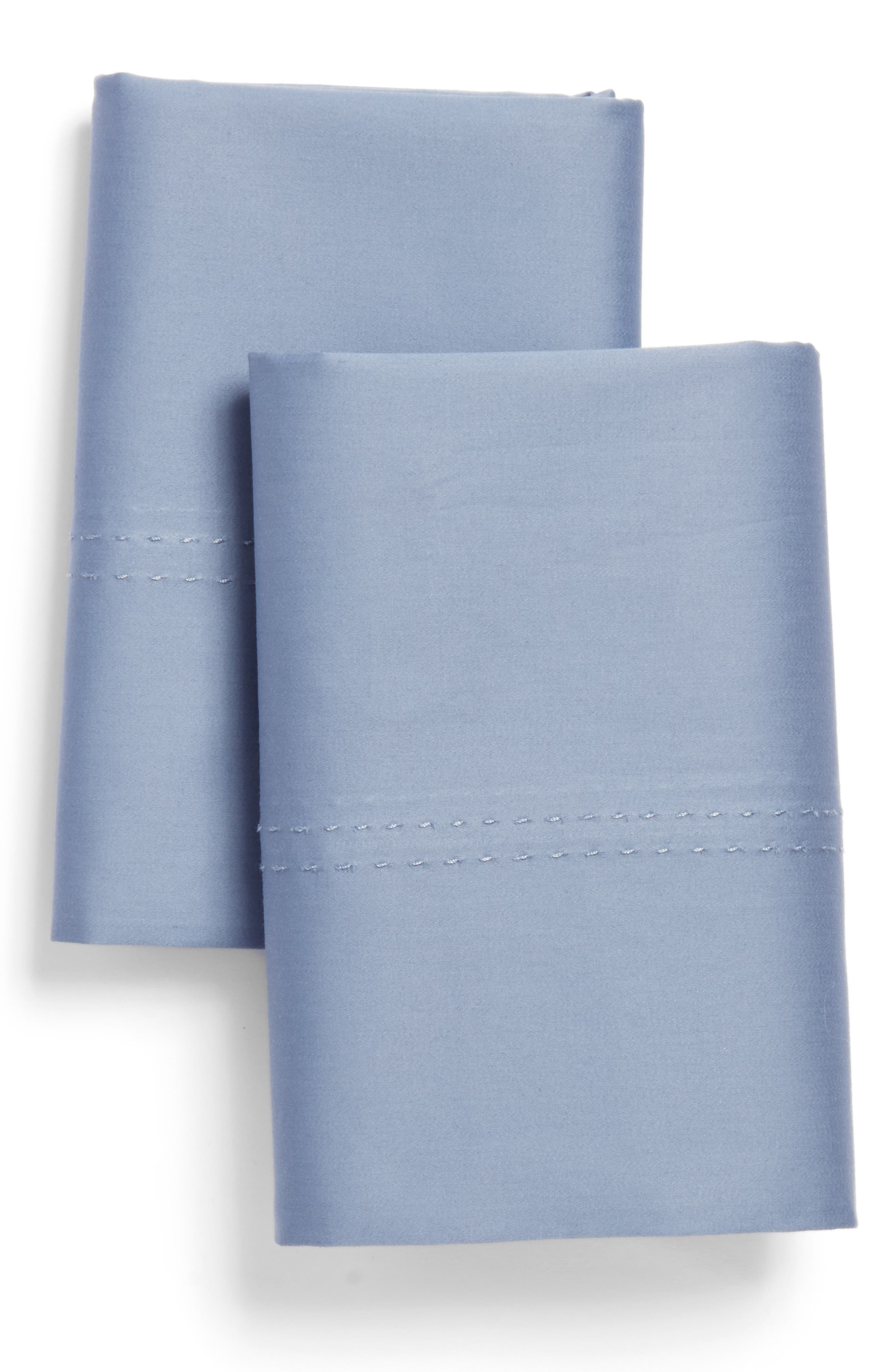 400 Thread Count Organic Cotton Pillowcases,                         Main,                         color, Blue Stonewash