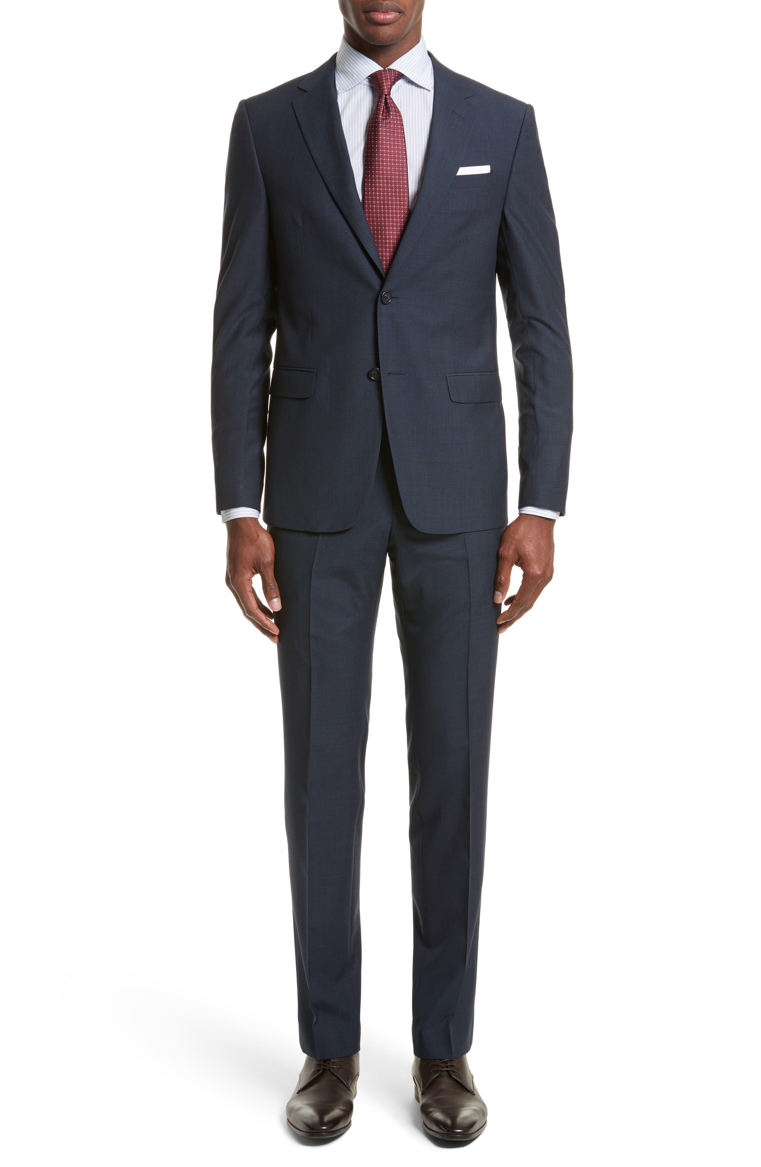 Z Zegna Drop 8 Trim Fit Check Wool Blend Suit