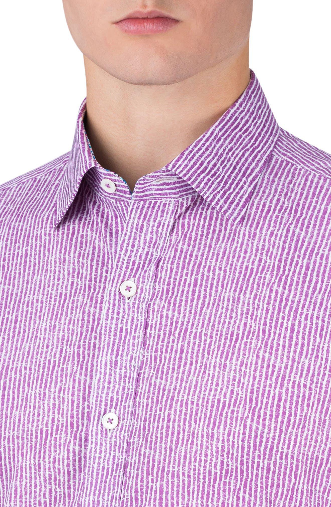 Shaped Fit Stripe Sport Shirt,                             Alternate thumbnail 2, color,                             Plum