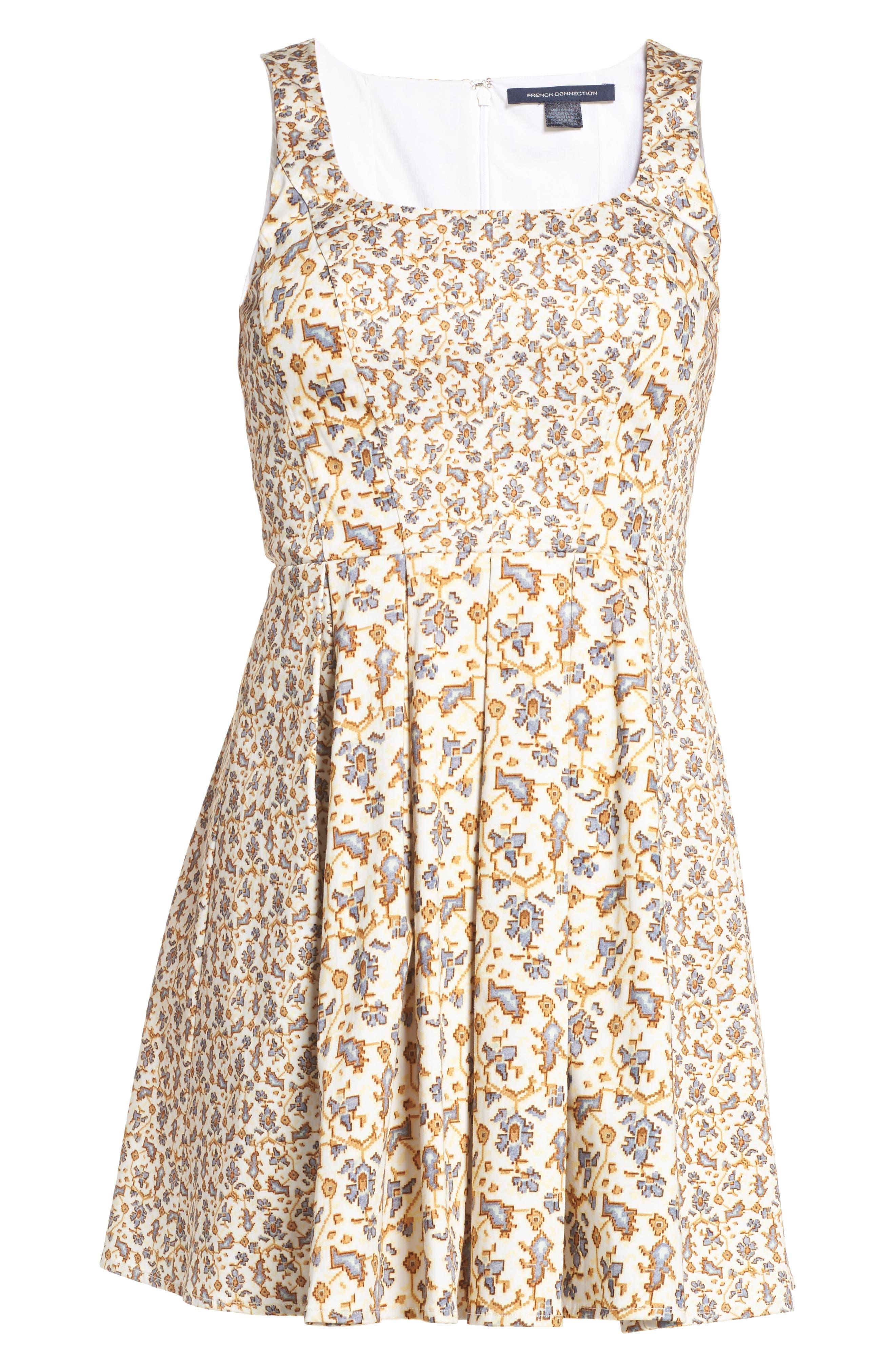 Niko Fit & Flare Dress,                             Alternate thumbnail 6, color,                             Summer White Multi