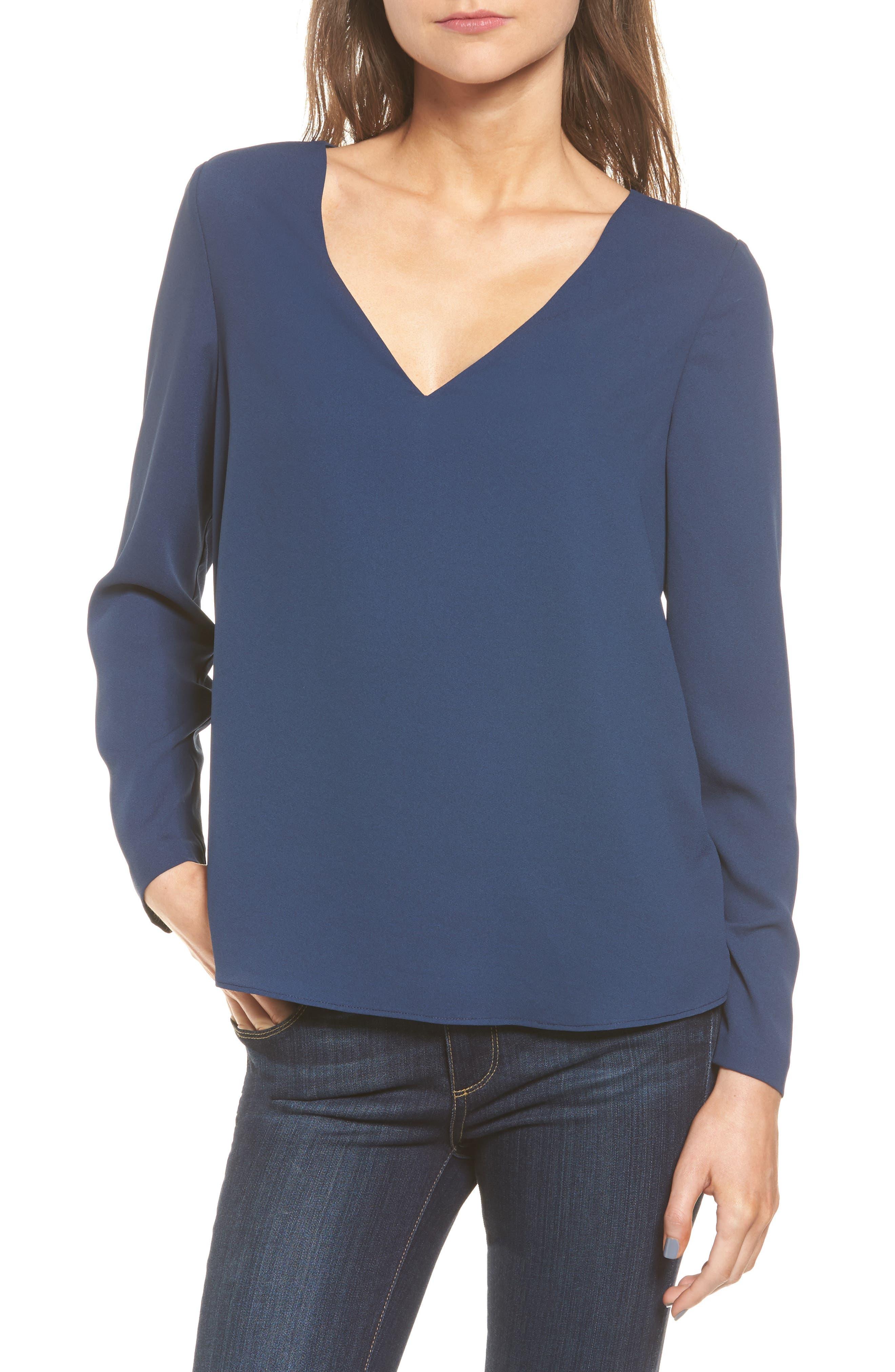 Freja Long Sleeve Blouse,                         Main,                         color, Navy