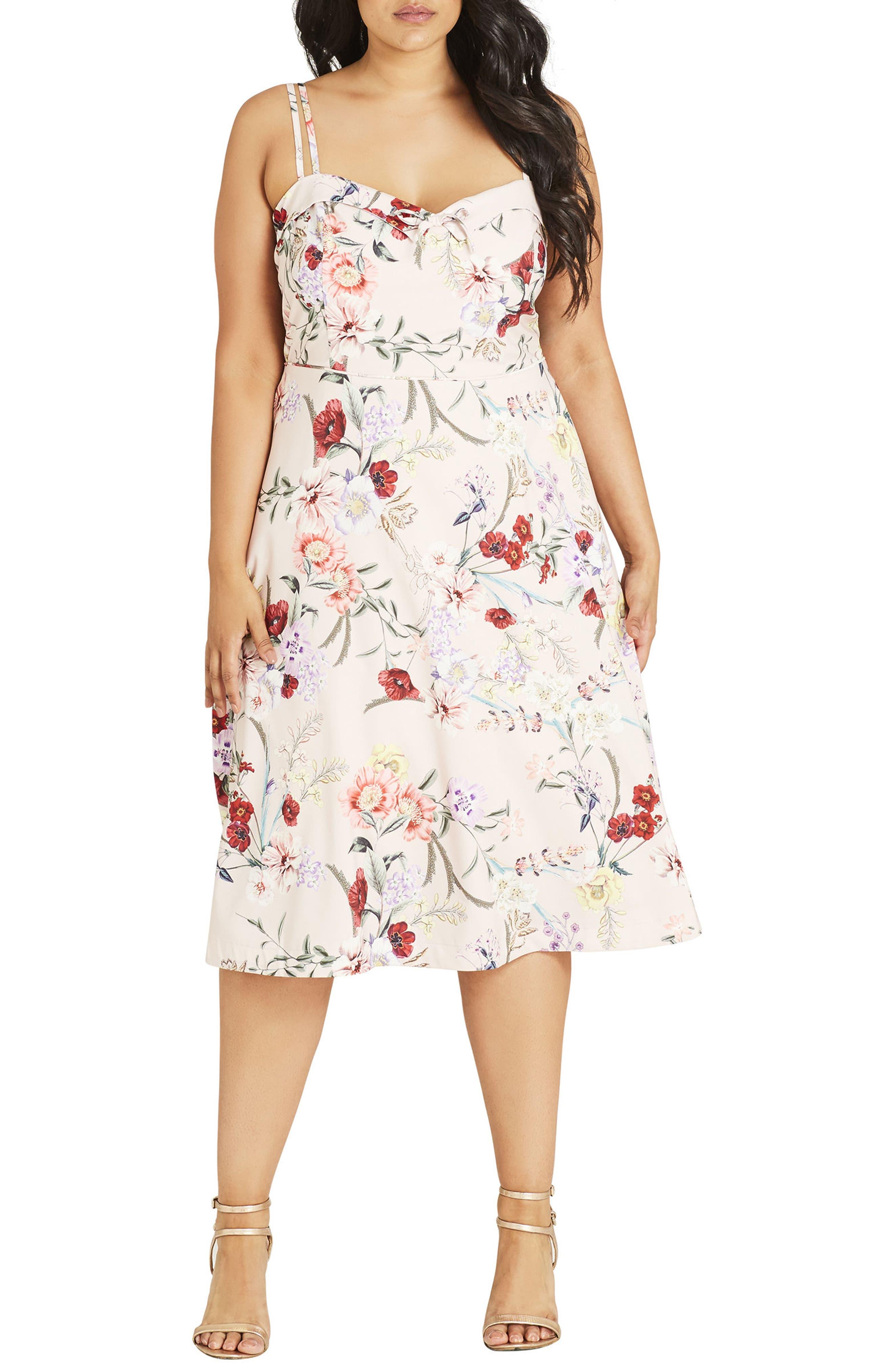 Daytime Diva Fit & Flare Dress,                         Main,                         color, Nude Botanical Floral