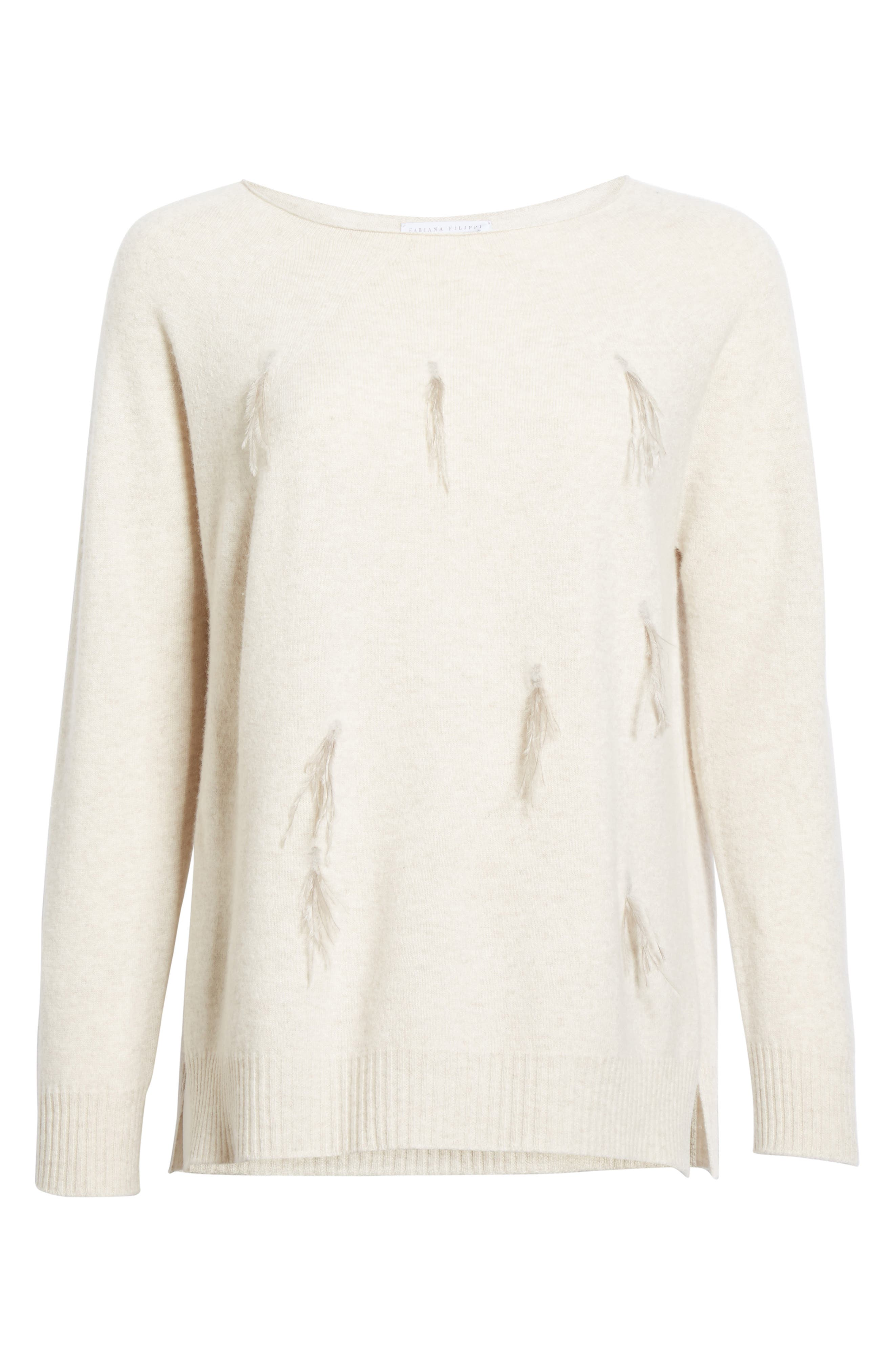 Needle Punch Ostrich Feather Trim Sweater,                             Alternate thumbnail 4, color,                             Oatmeal