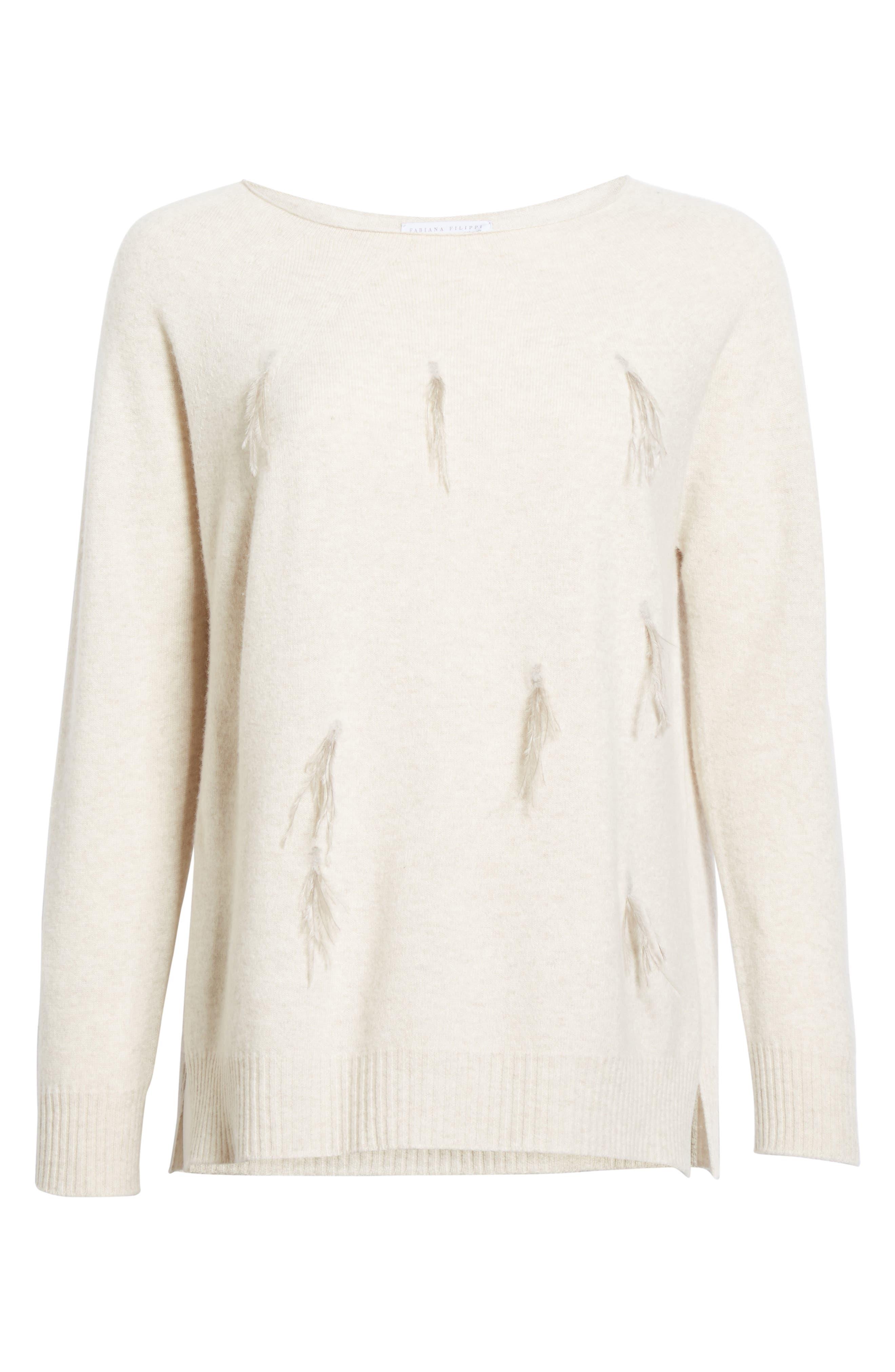 Alternate Image 4  - Fabiana Filippi Needle Punch Ostrich Feather Trim Sweater
