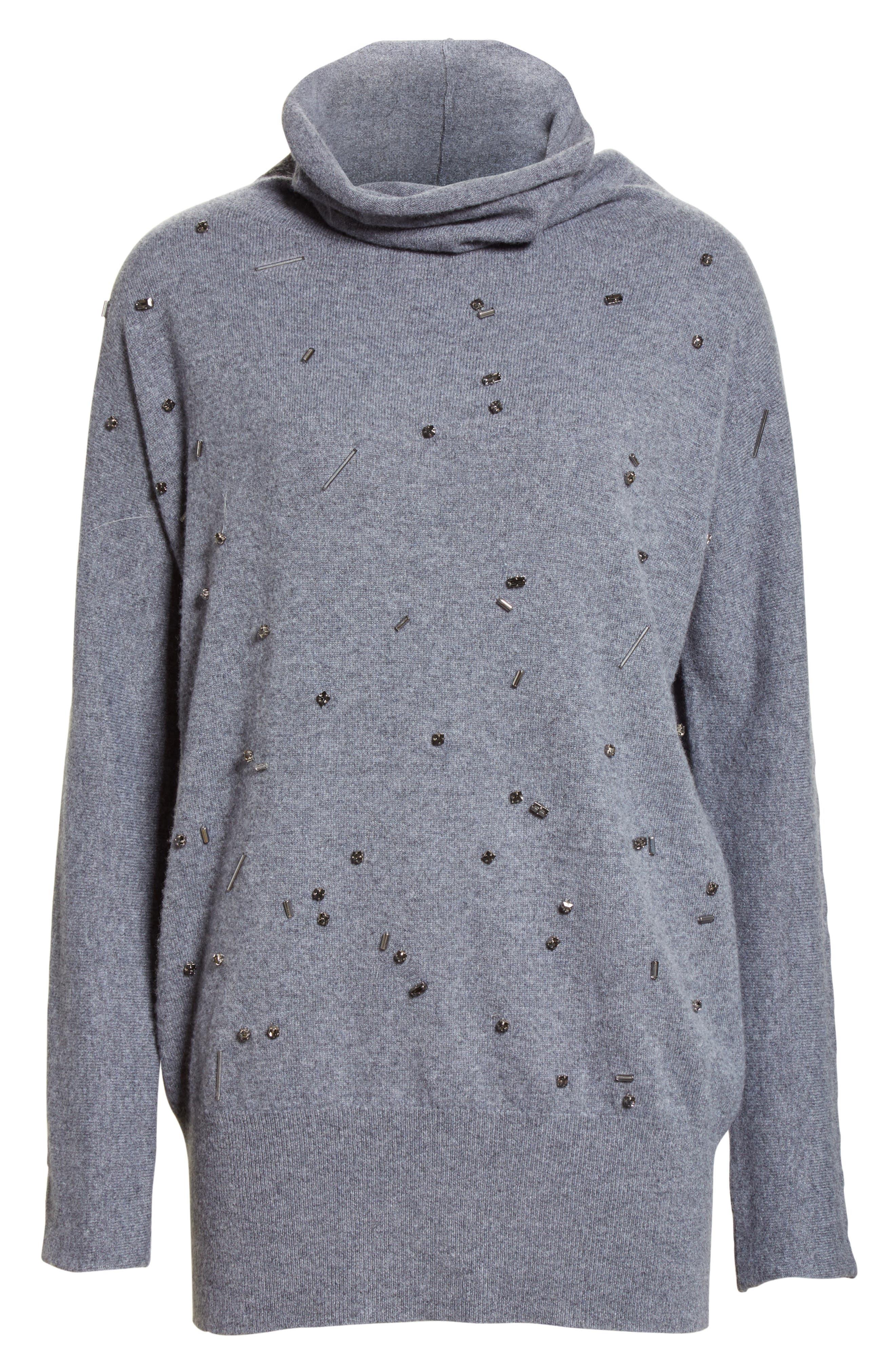 Embellished Cashmere Turtleneck Sweater,                             Alternate thumbnail 4, color,                             Grey