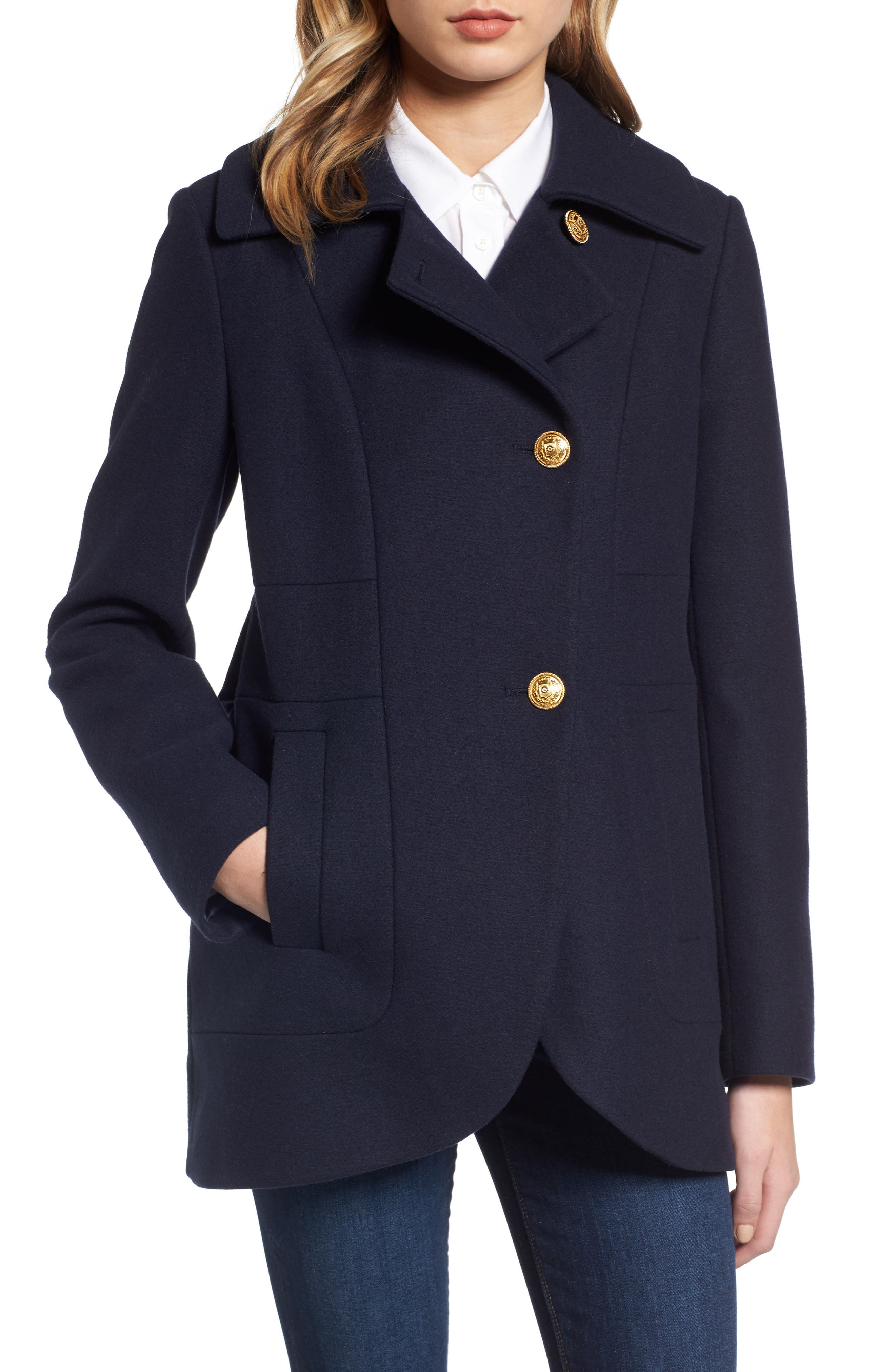 Main Image - French Connection Back Belt Wool Blend Peacoat