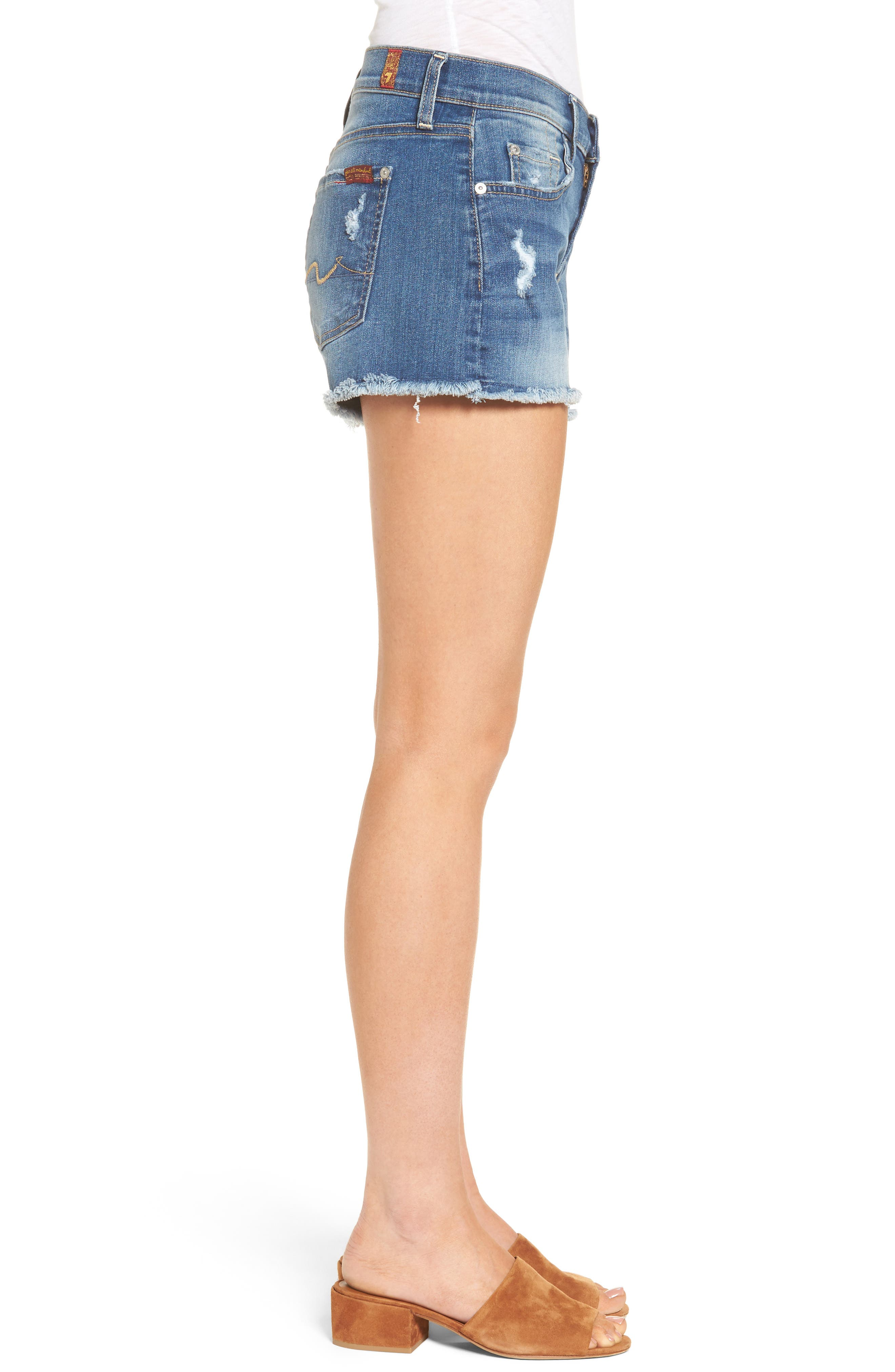 Alternate Image 3  - 7 For All Mankind® High Waist Cutoff Denim Shorts (Ocean Mist) (Nordstrom Exclusive Color)