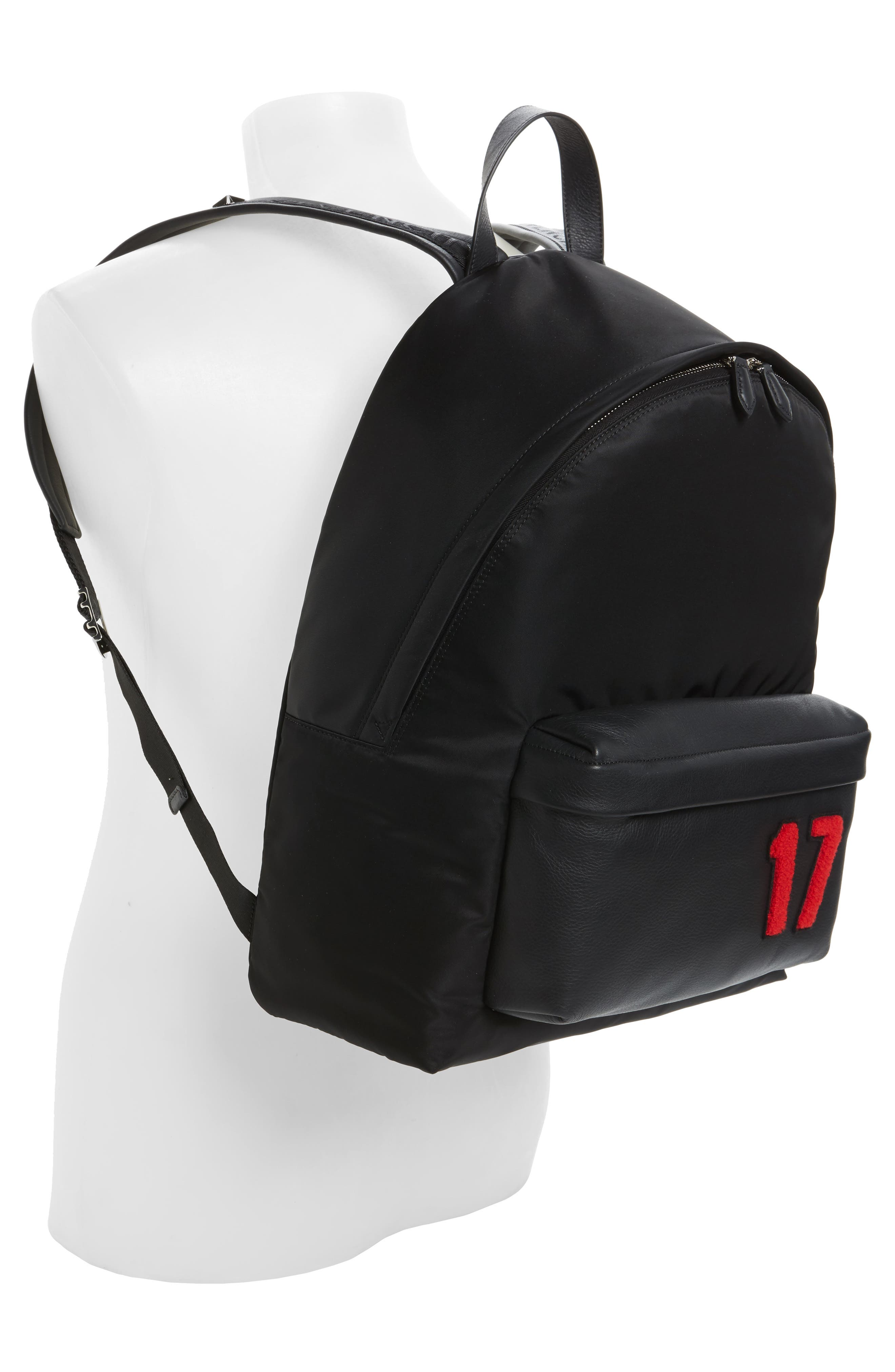 17 Patch Mix Media Backpack,                             Alternate thumbnail 2, color,                             Black/ Red