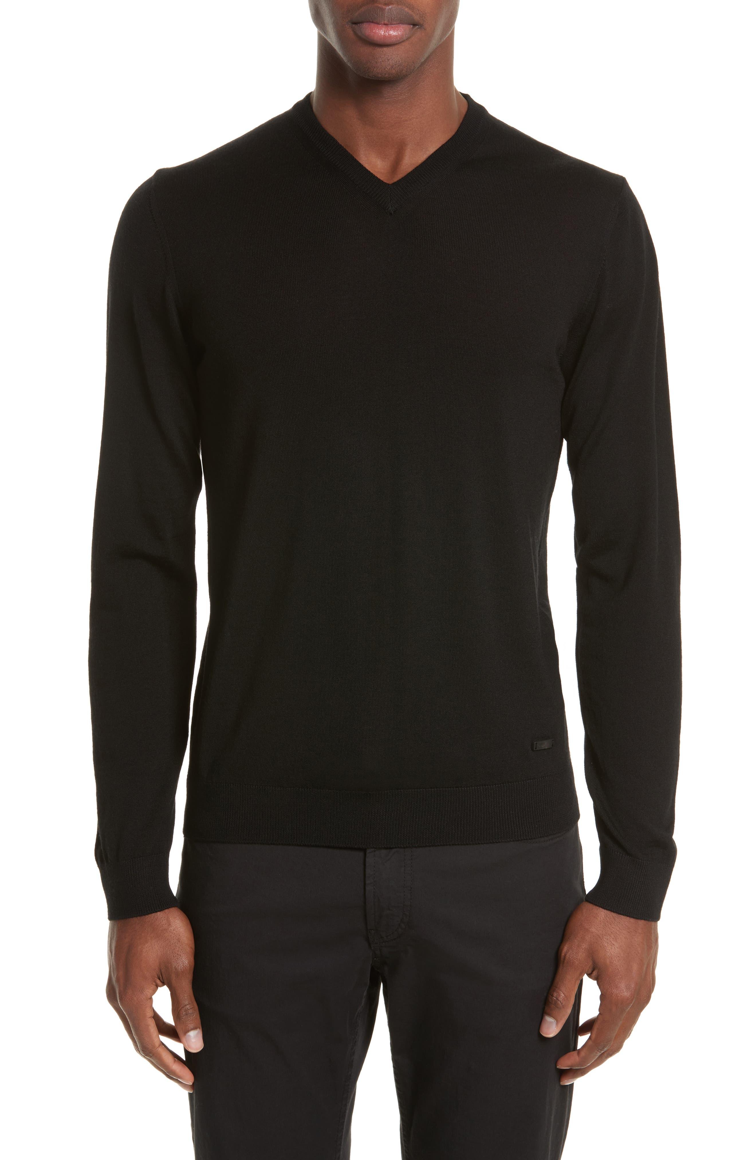 V-Neck Sweater,                         Main,                         color, Black