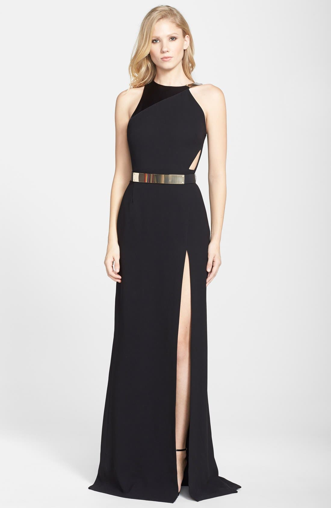 Alternate Image 1 Selected - Halston Heritage Belted Asymmetrical Crepe Gown
