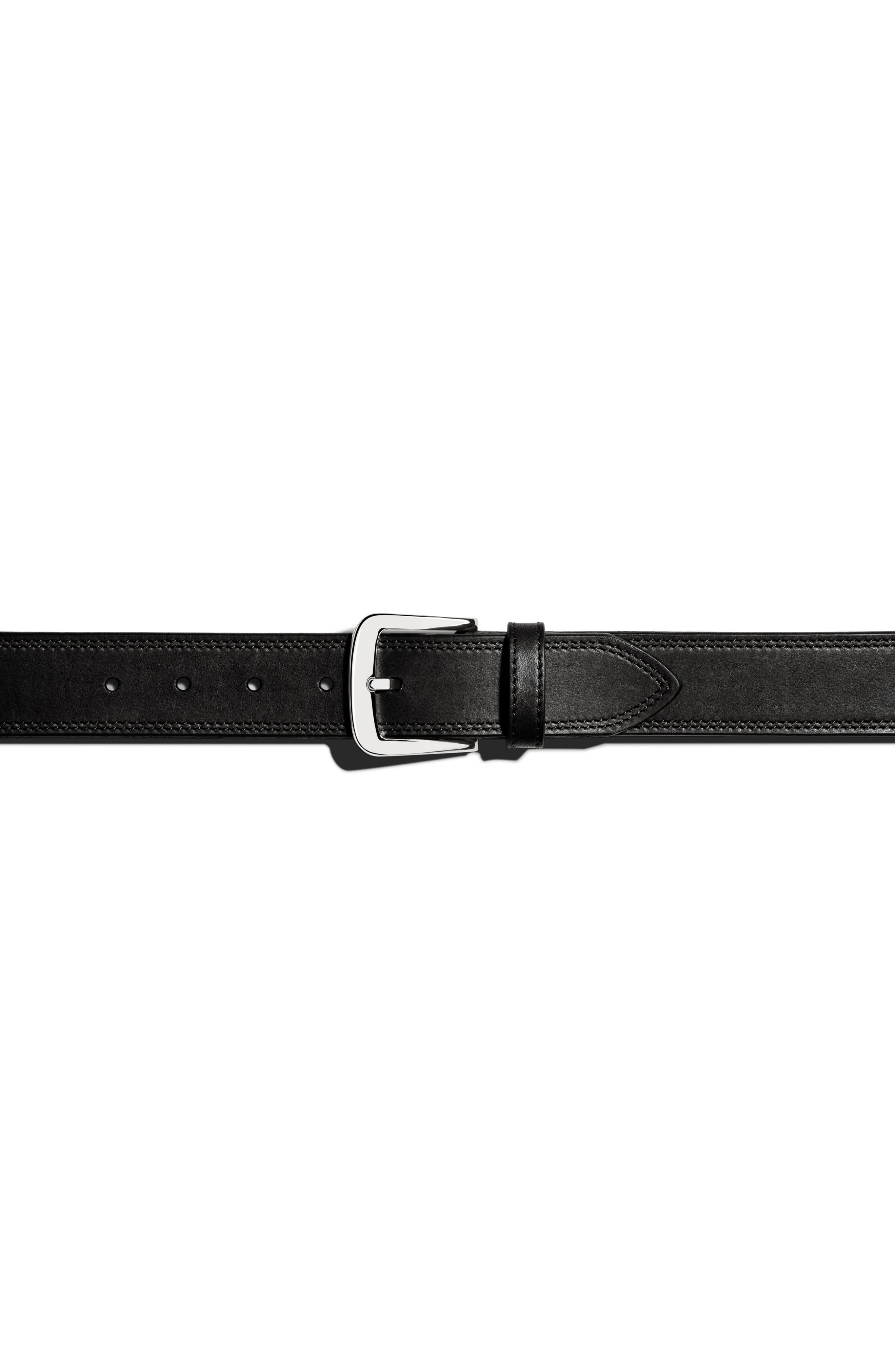 Double Stitch Leather Belt,                             Alternate thumbnail 4, color,                             Black