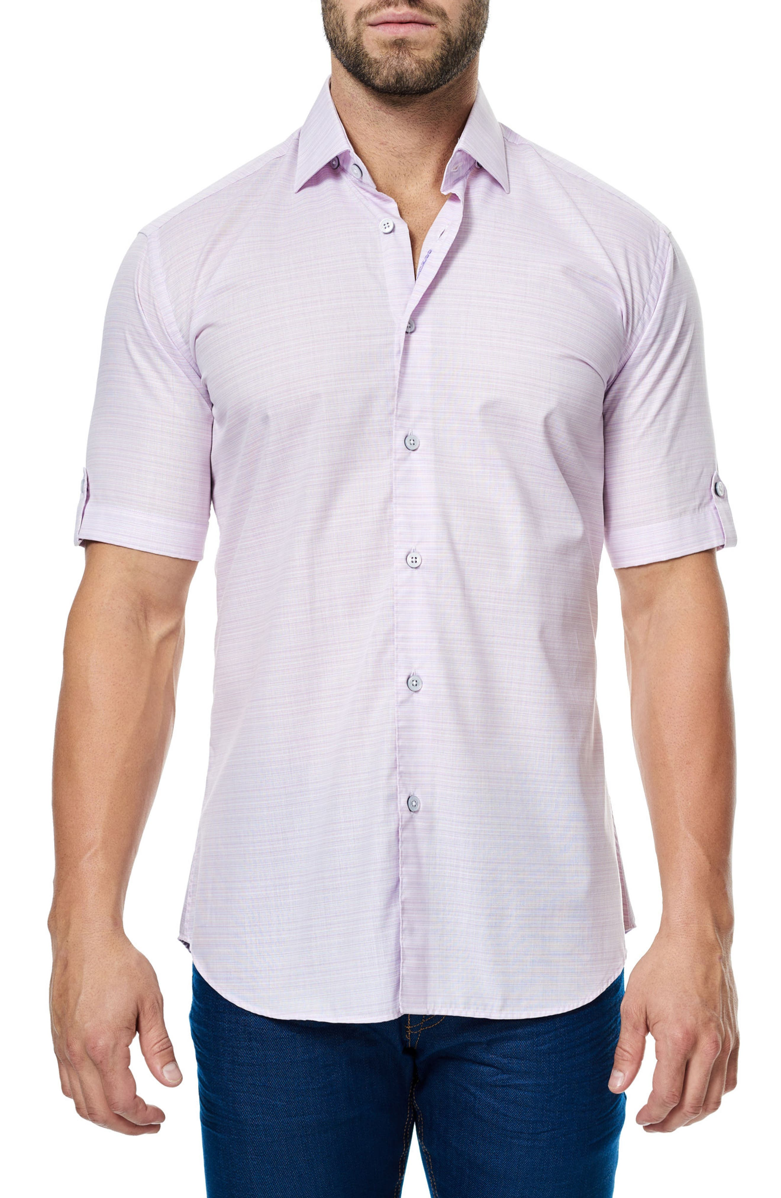 MACEOO Fresh Stripe Print Sport Shirt