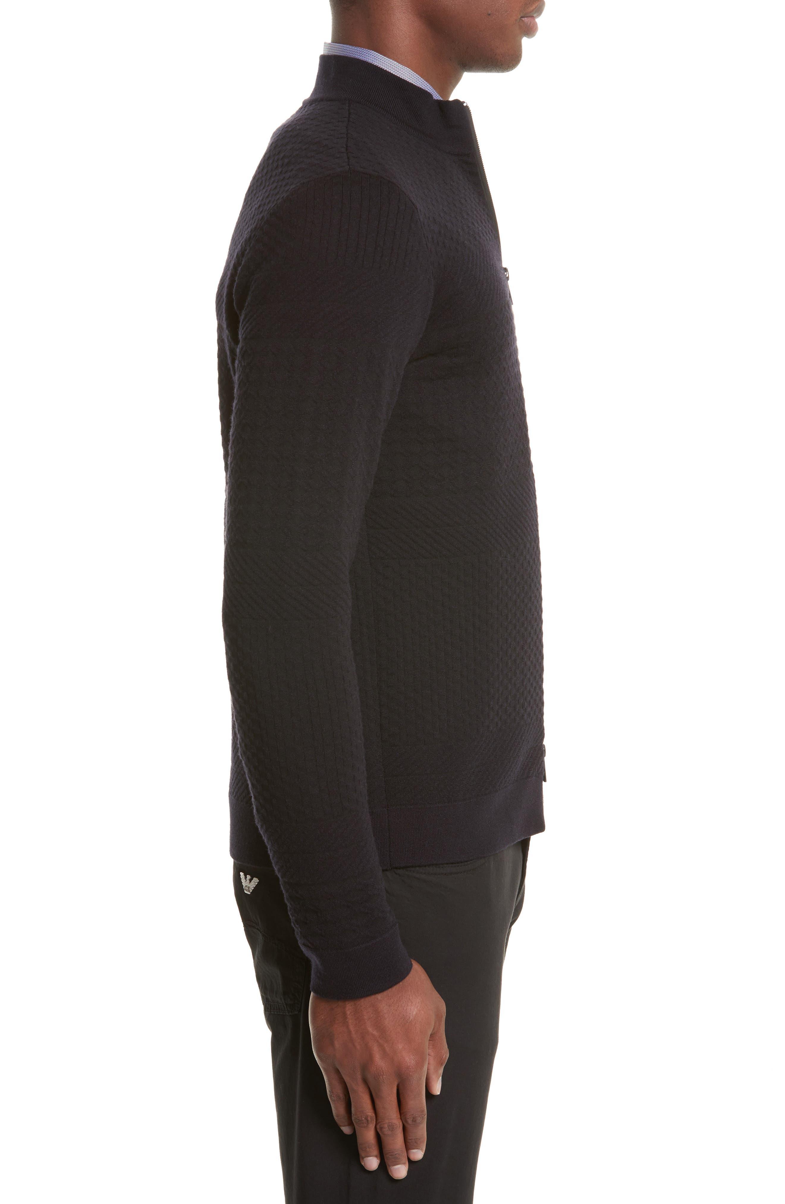 Alternate Image 3  - Armani Collezioni Full Zip Jacquard Sweater