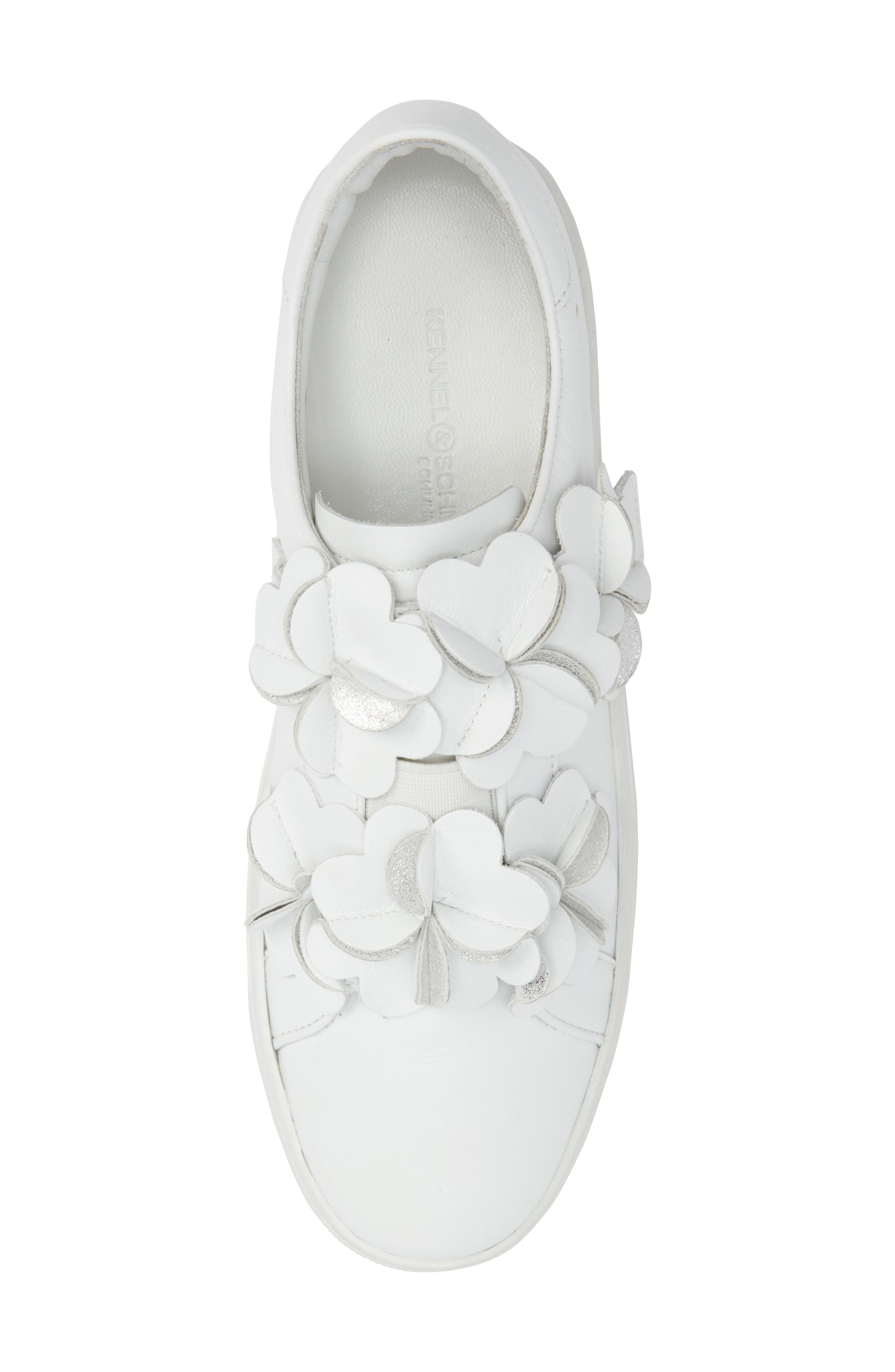 Kennel & Schmenger Town Floral Embellished Sneaker,                             Alternate thumbnail 5, color,                             White/ Silver