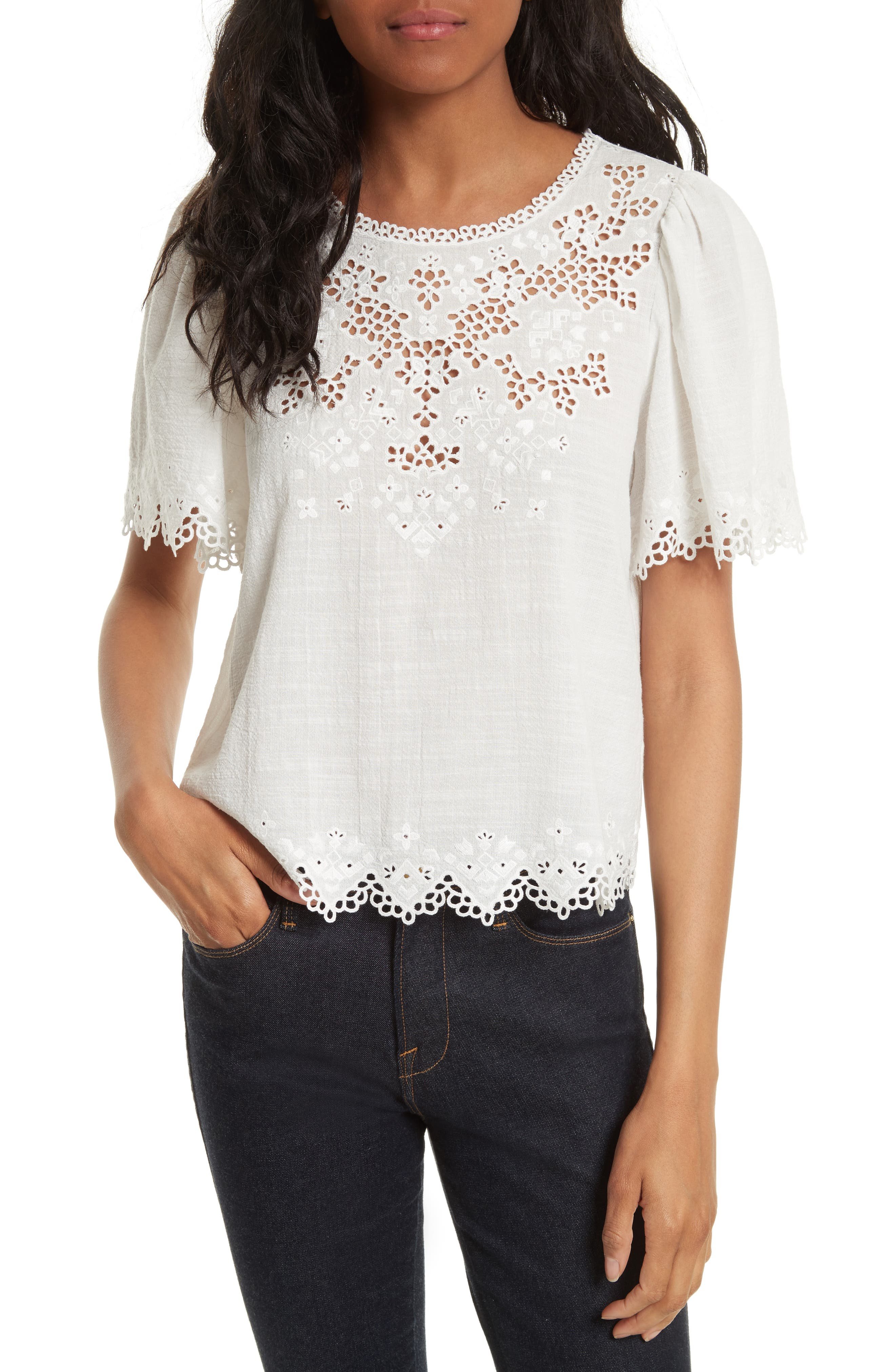Amore Embroidered Top,                             Main thumbnail 1, color,                             Milk