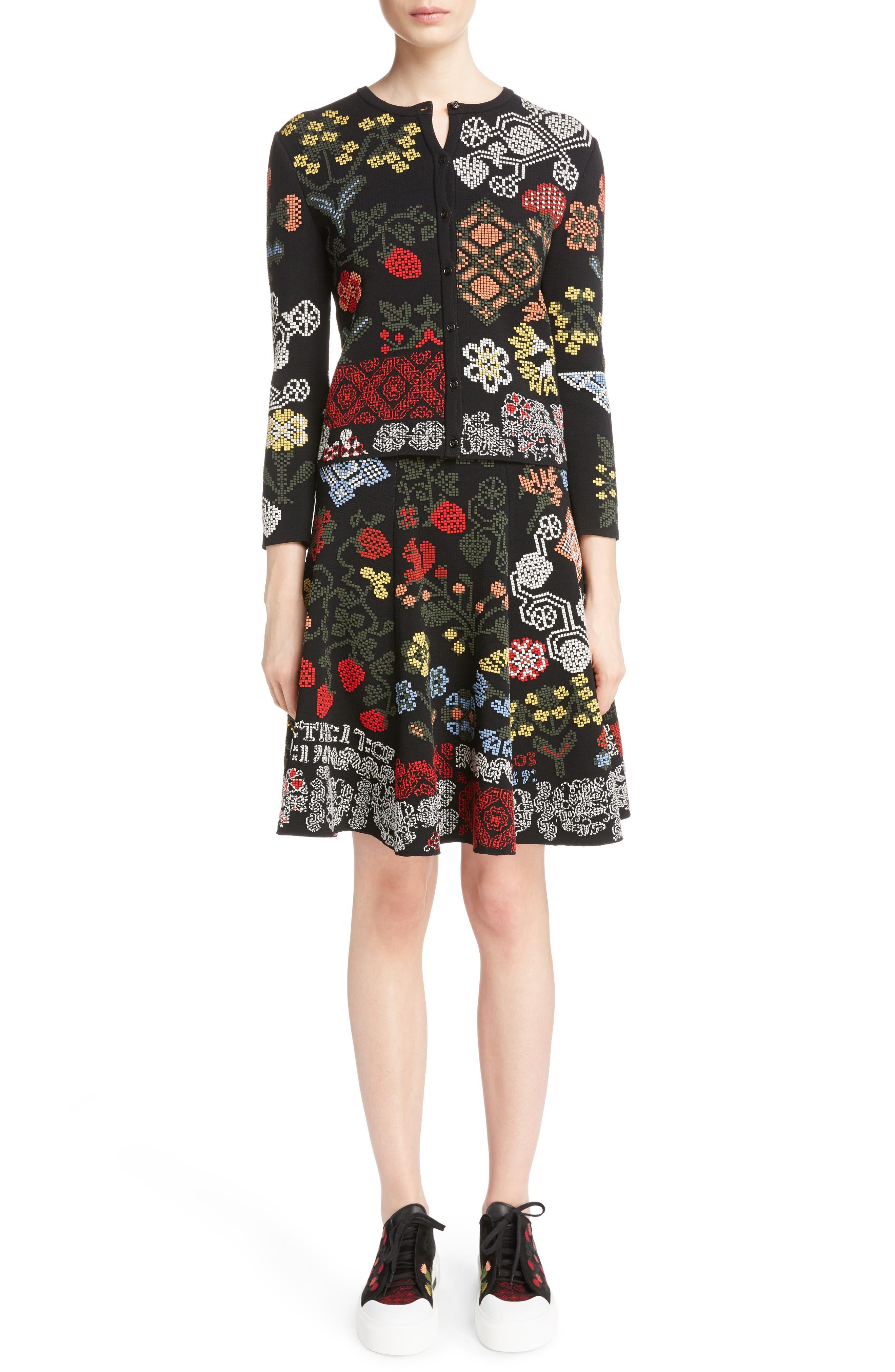 Cross Stitch Jacquard Skirt,                             Alternate thumbnail 6, color,                             Black Multi