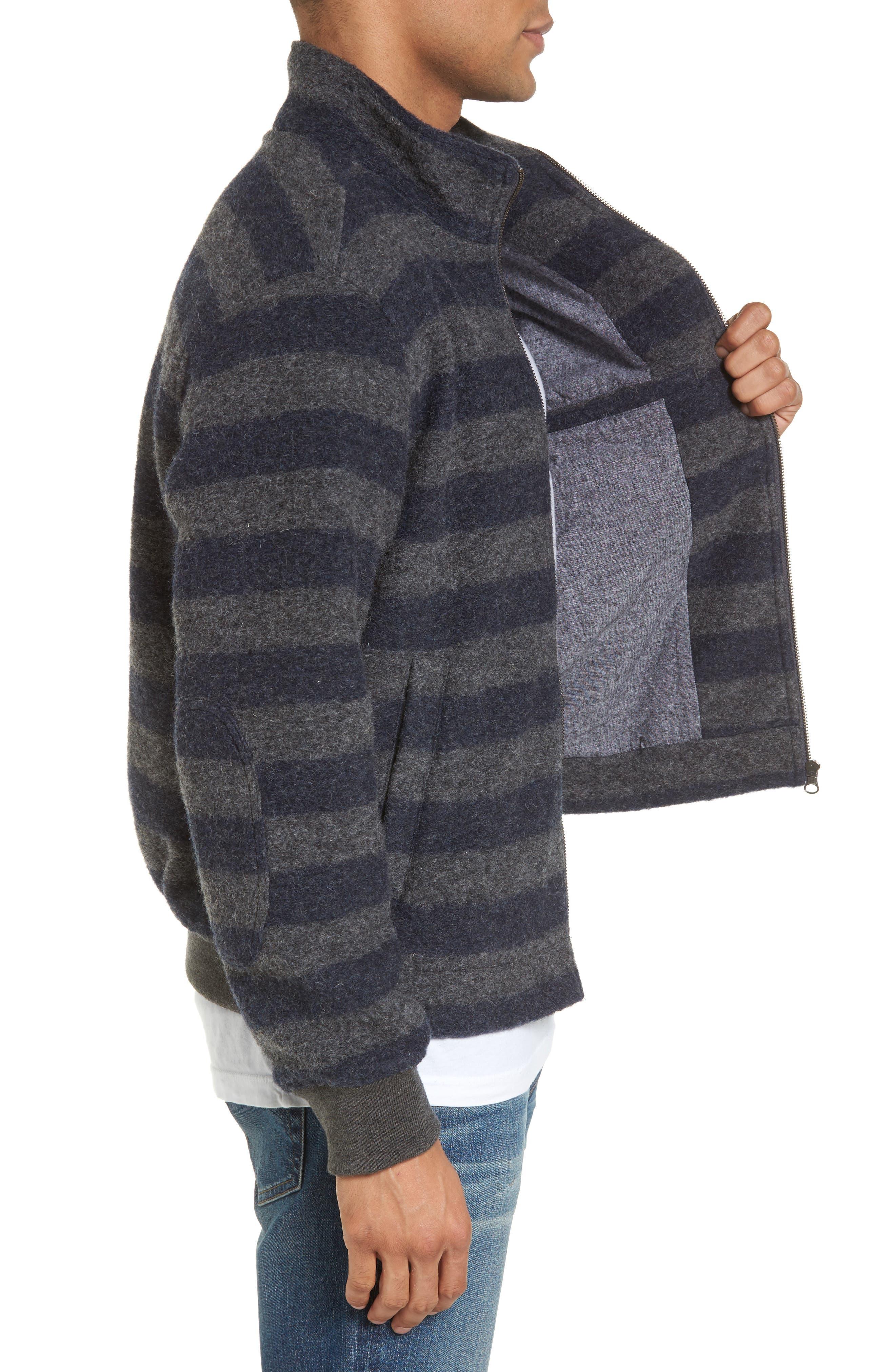 Bowen Stripe Zip Front Jacket,                             Alternate thumbnail 3, color,                             Grey Navy Stripe