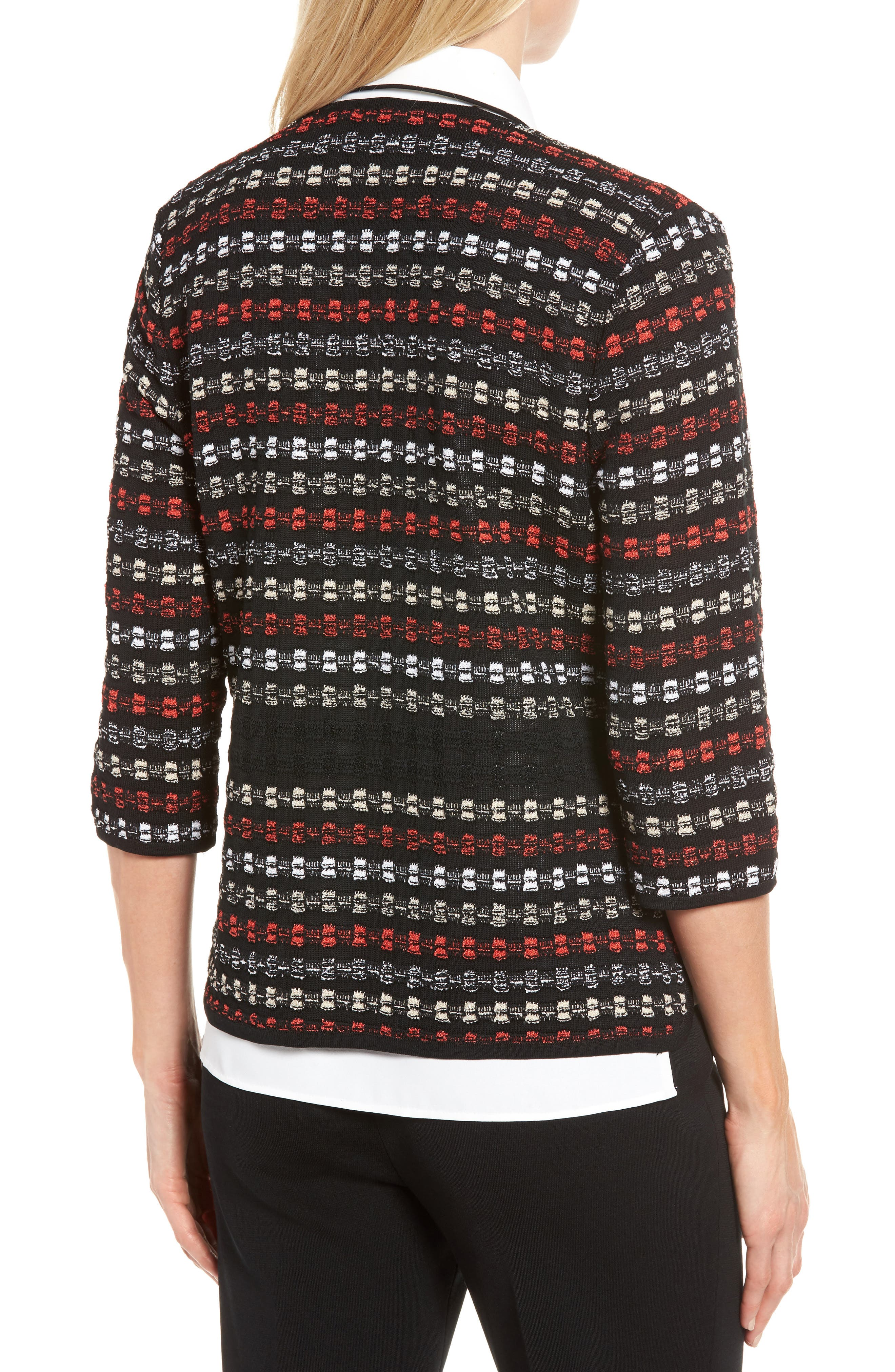 Alternate Image 2  - Ming Wang Three-Quarter Sleeve Knit Jacket