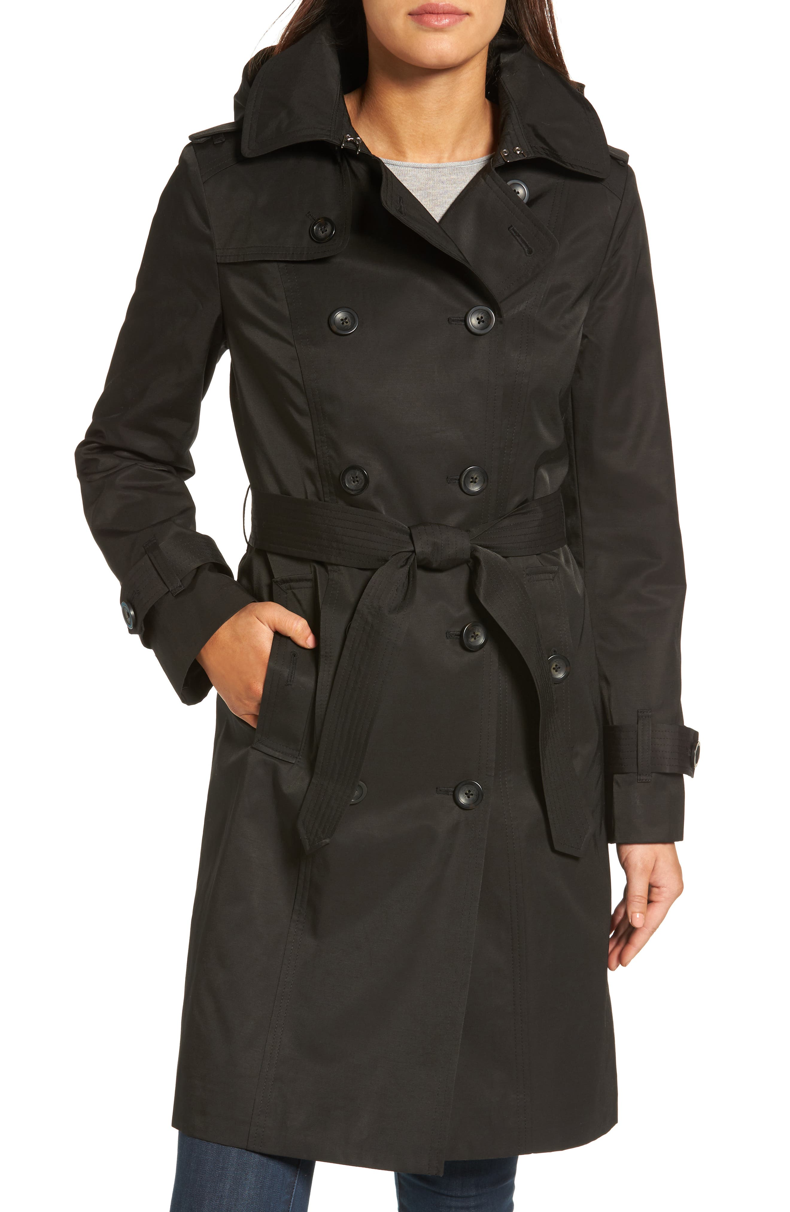 Hooded Double Breasted Long Trench Coat,                             Main thumbnail 1, color,                             Black