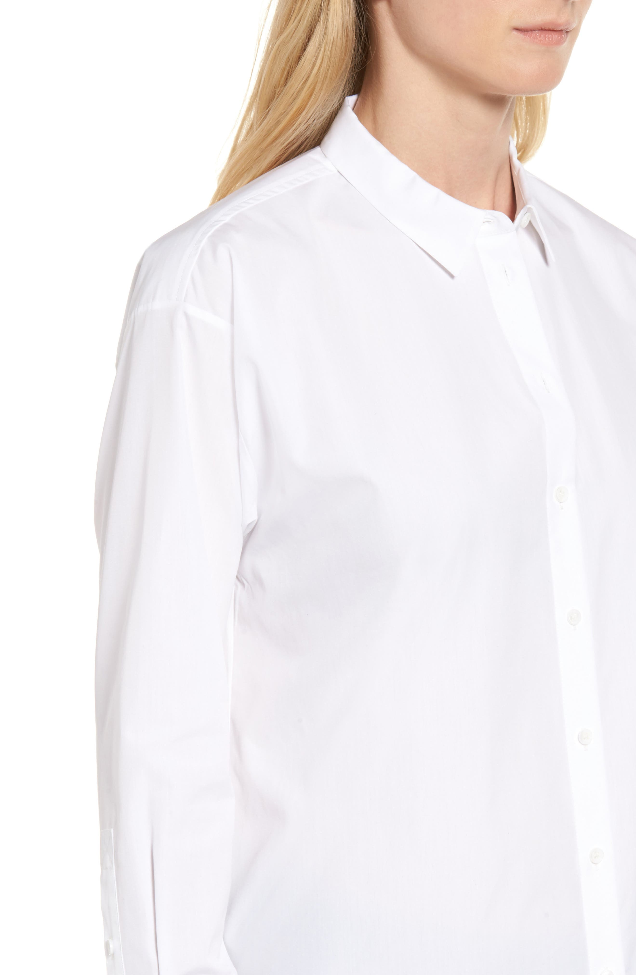 Poplin Shirt,                             Alternate thumbnail 4, color,                             White