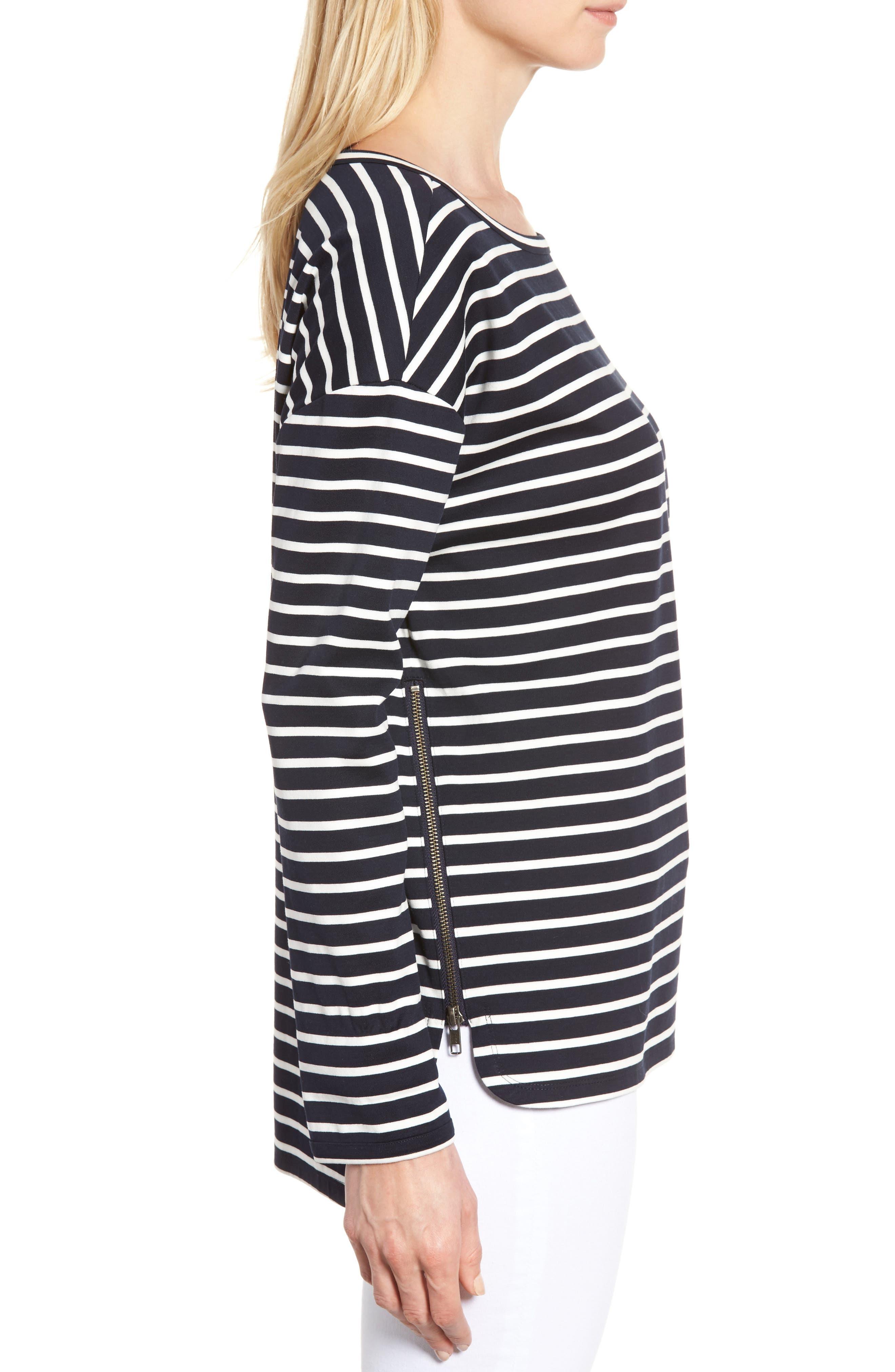 Alternate Image 3  - Nordstrom Signature Side Zip Stripe Sweatshirt