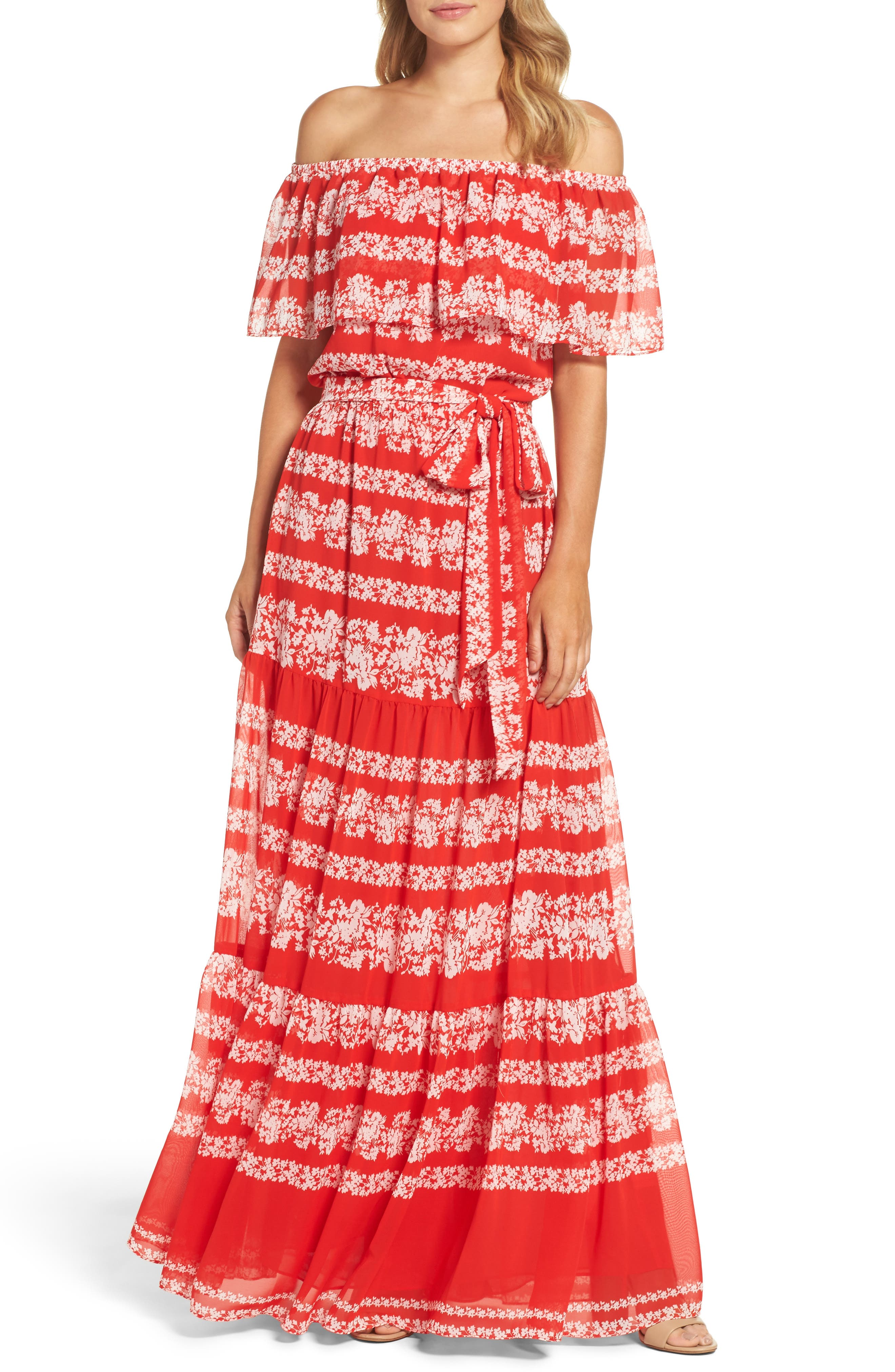 Off the Shoulder Maxi Dress,                             Main thumbnail 1, color,                             Red/ Ivory