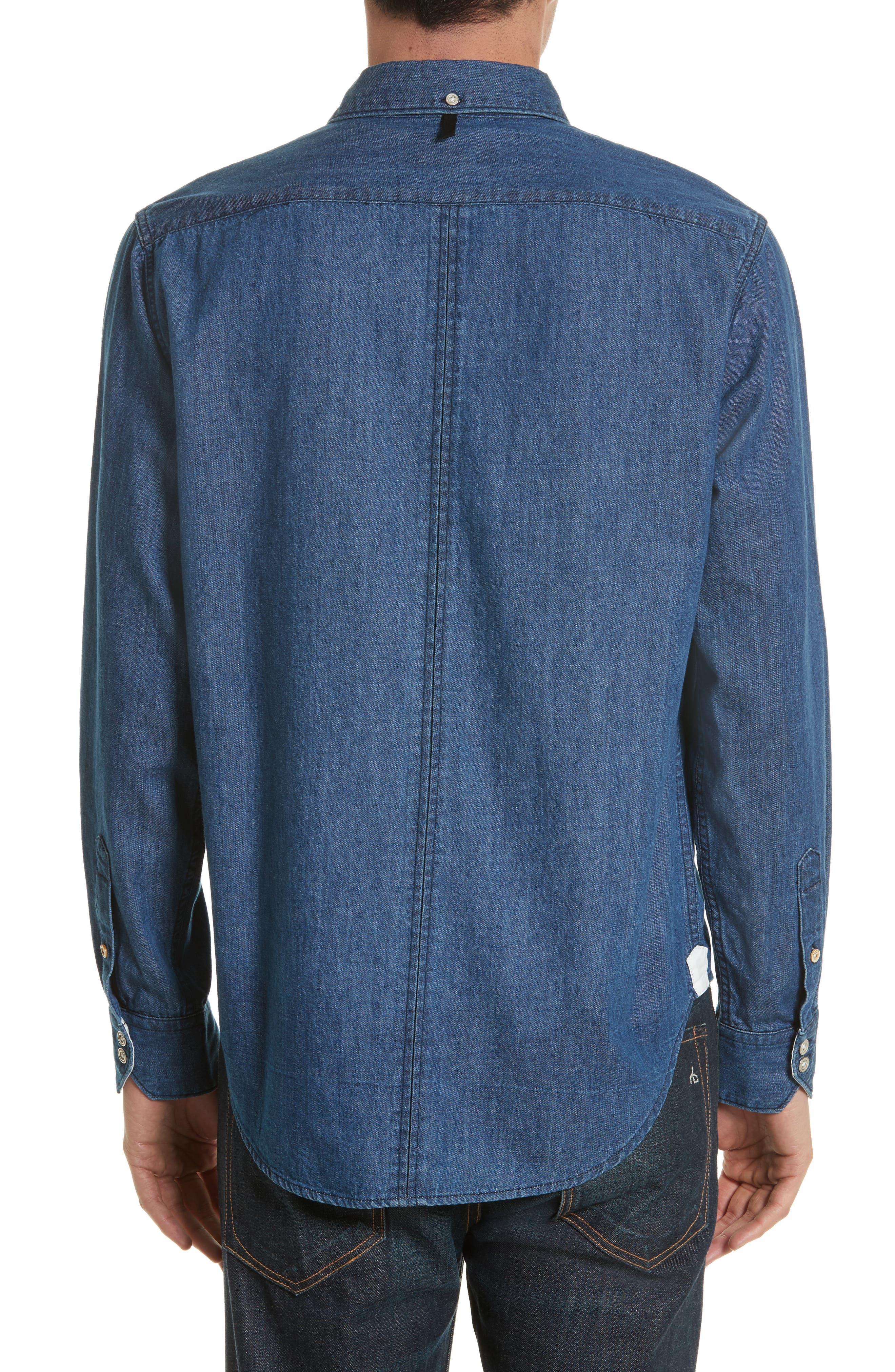 Fit 3 Woven Denim Shirt,                             Alternate thumbnail 3, color,                             Indigo