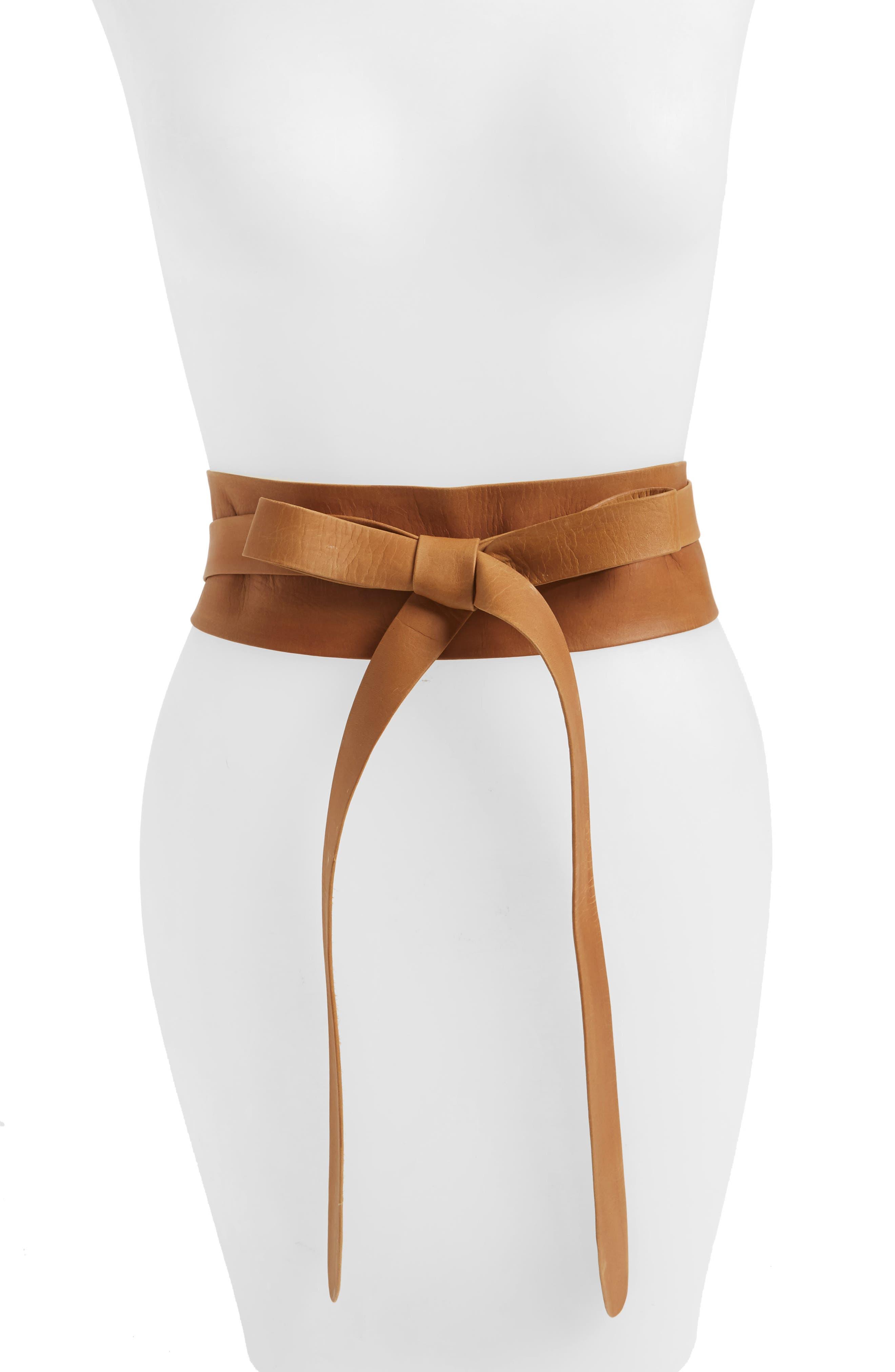 Handmade Leather Wrap Belt,                         Main,                         color, Tan
