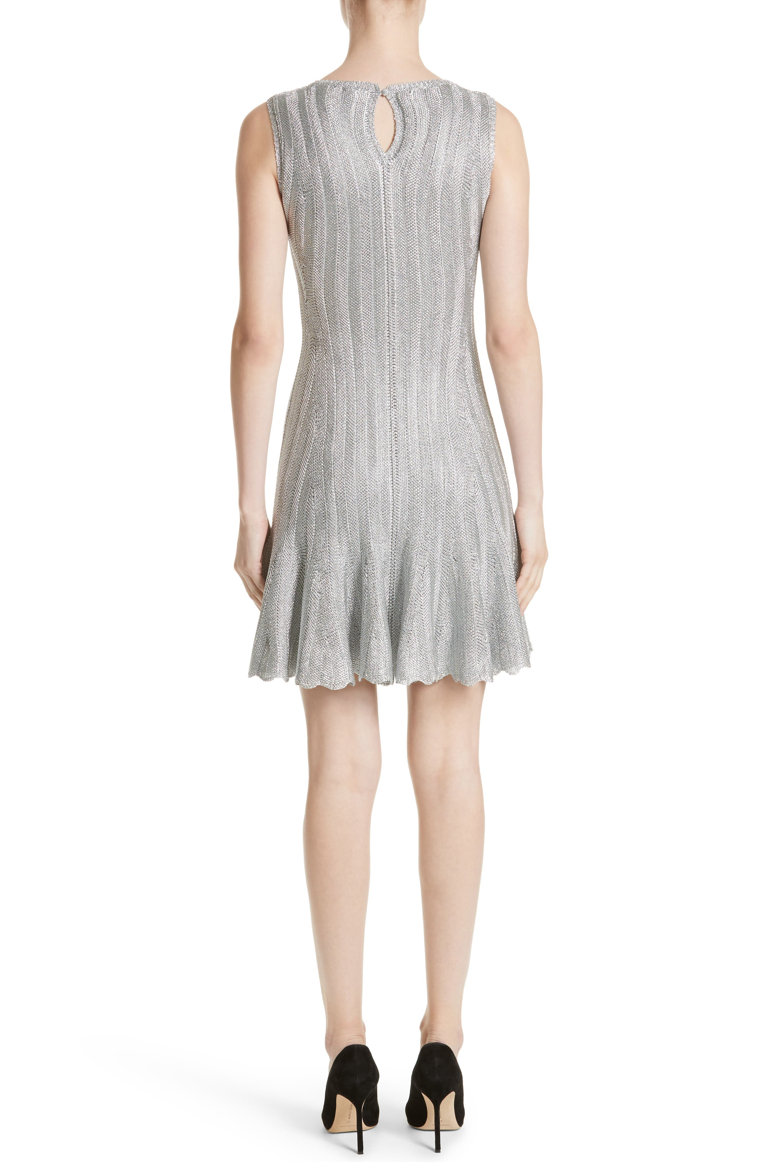 Metallic Knit Fit & Flare Dress,                             Alternate thumbnail 2, color,                             Silver Metallic