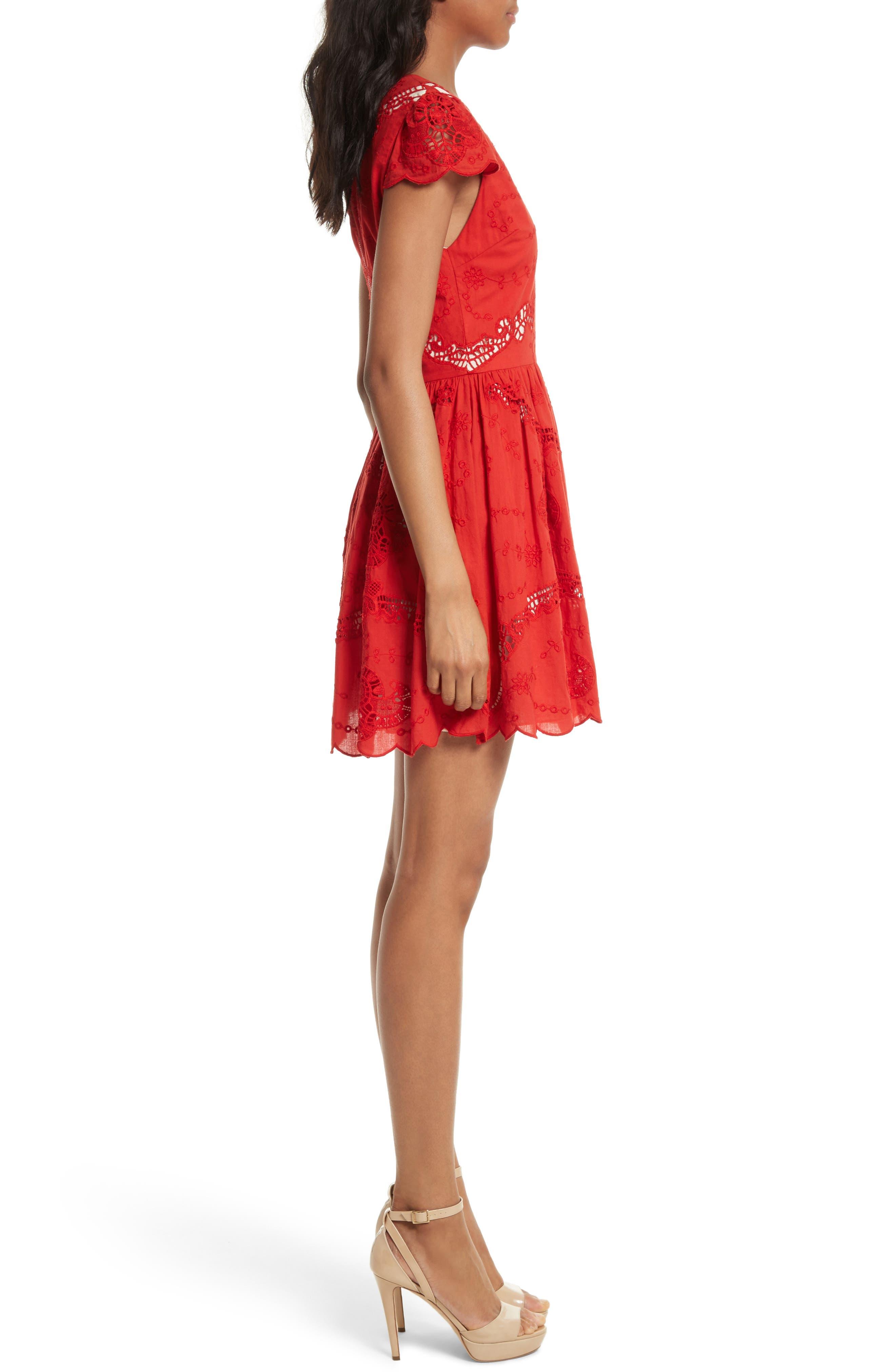 Alternate Image 3  - Alice + Olivia Karen Eyelet Embroidered Party Dress
