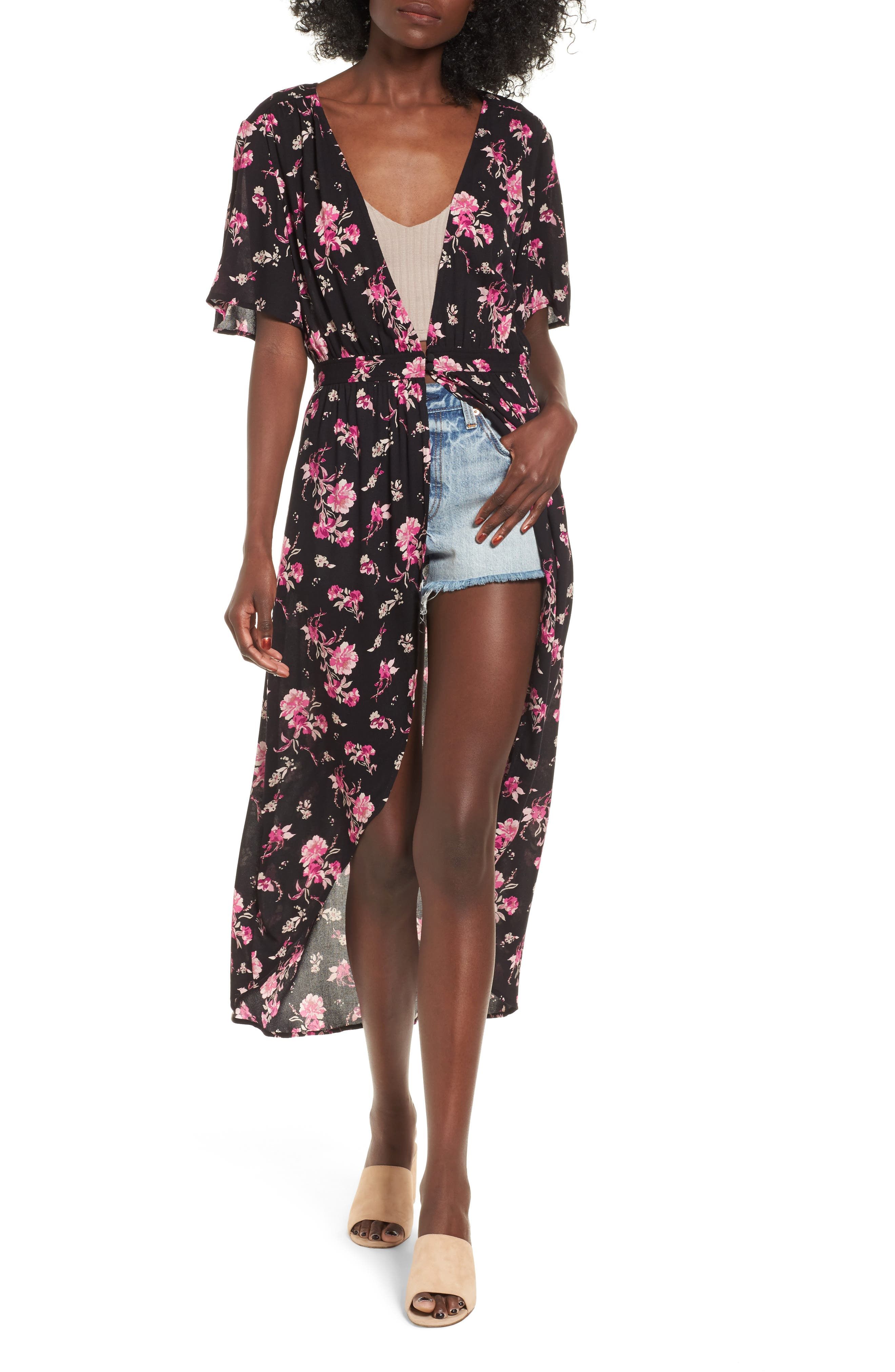 BP. Floral Print Maxi Cardigan