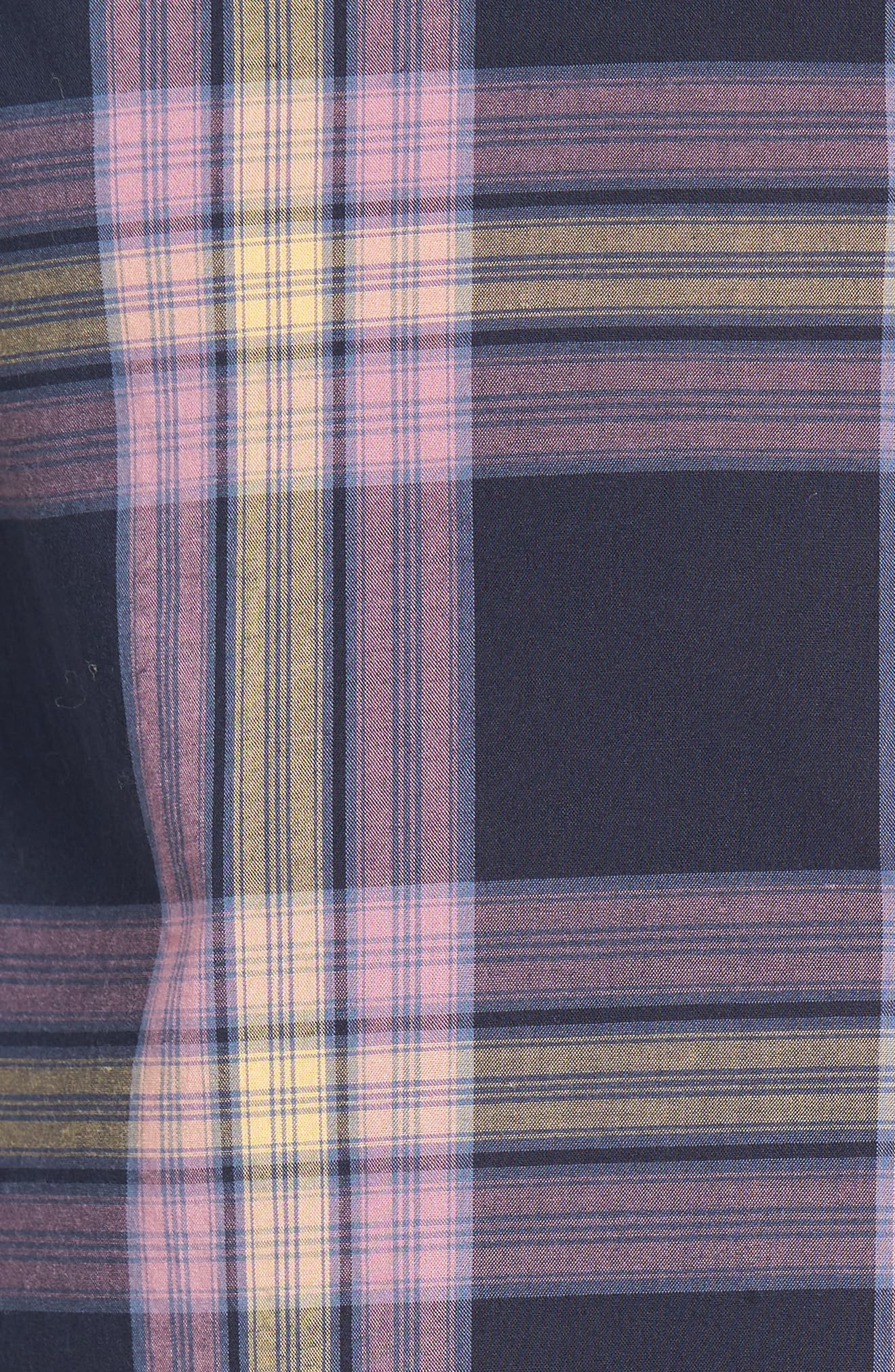 Heritage Slim Fit Plaid Woven Shirt,                             Alternate thumbnail 5, color,                             Dark Sapphire