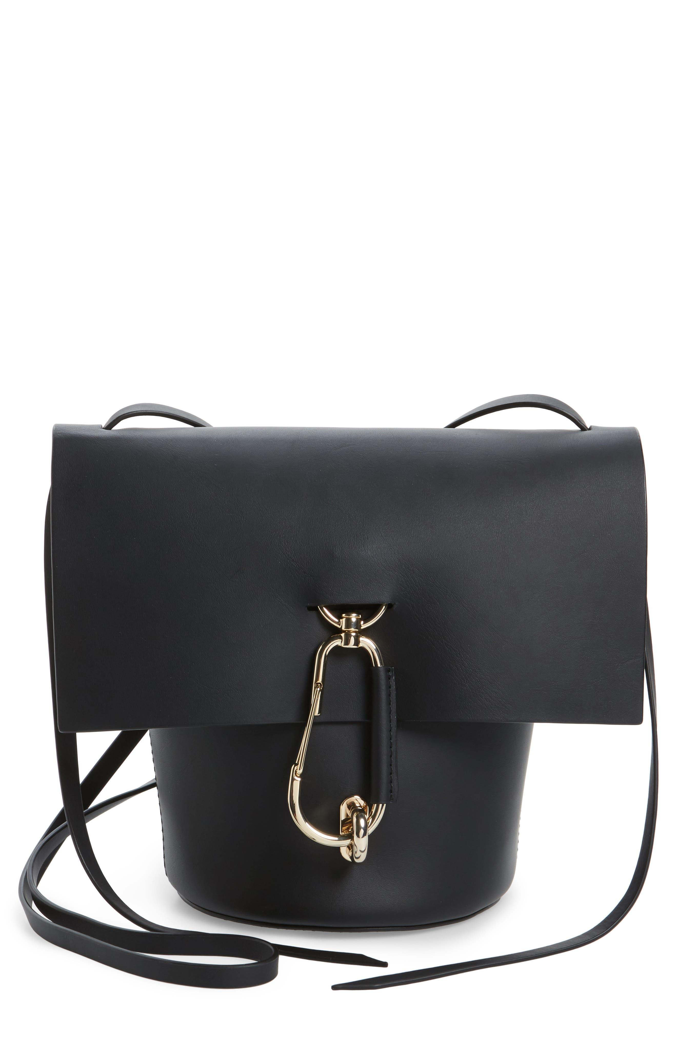Belay Leather Crossbody Bag,                             Main thumbnail 1, color,                             Black